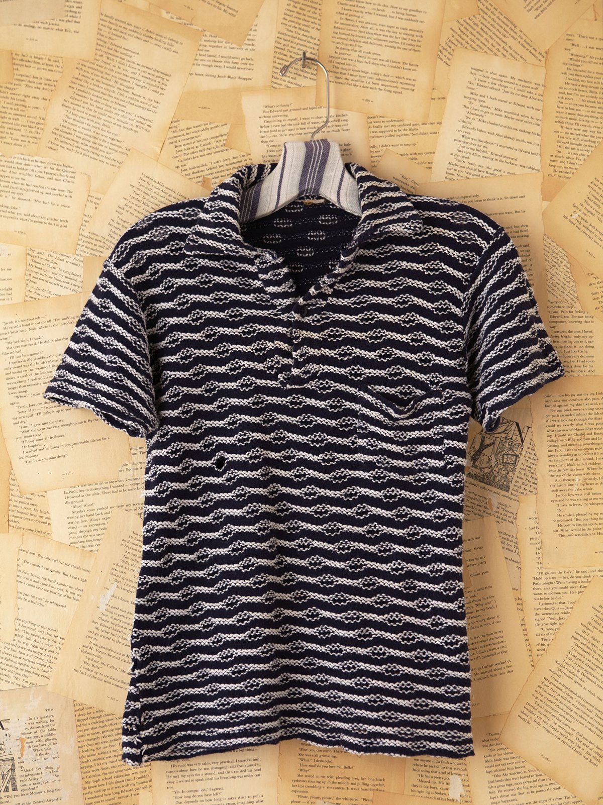 Vintage Blue Knitted Polo Top
