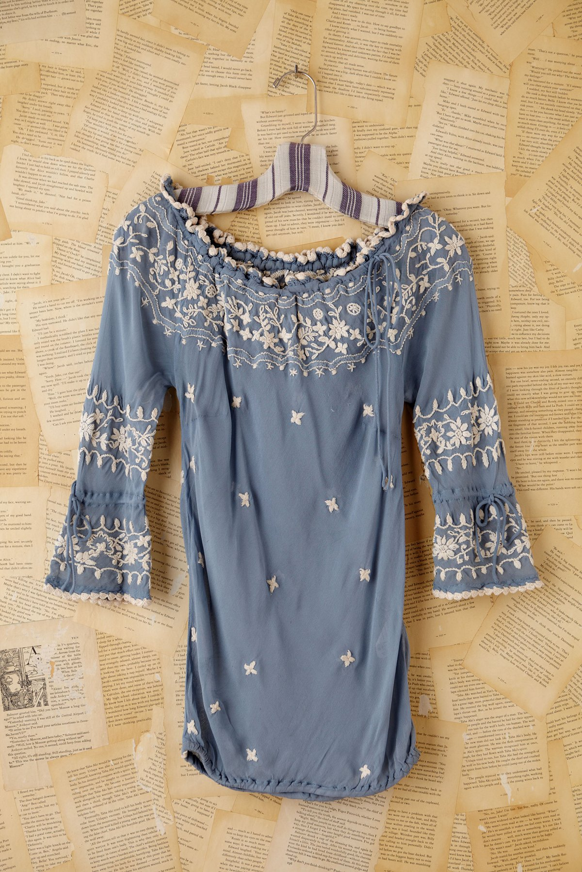 Vintage Embroidered Blue Chiffon Blouse
