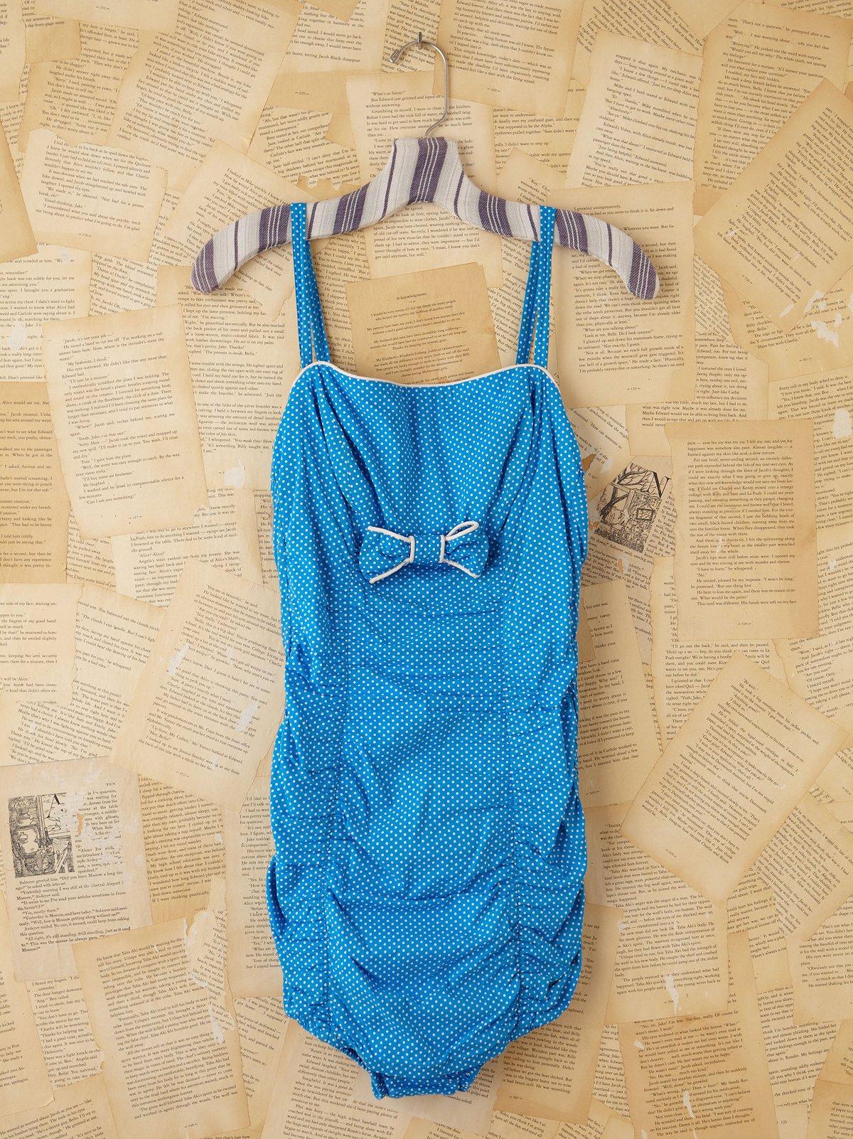 Vintage Blue Polka Dot Swim Suit