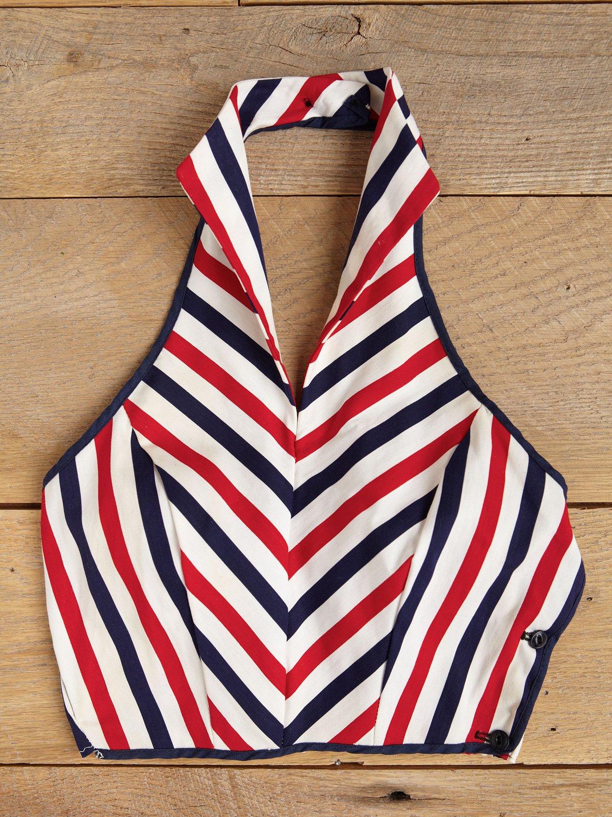 Vintage Stripe Cropped Halter Top
