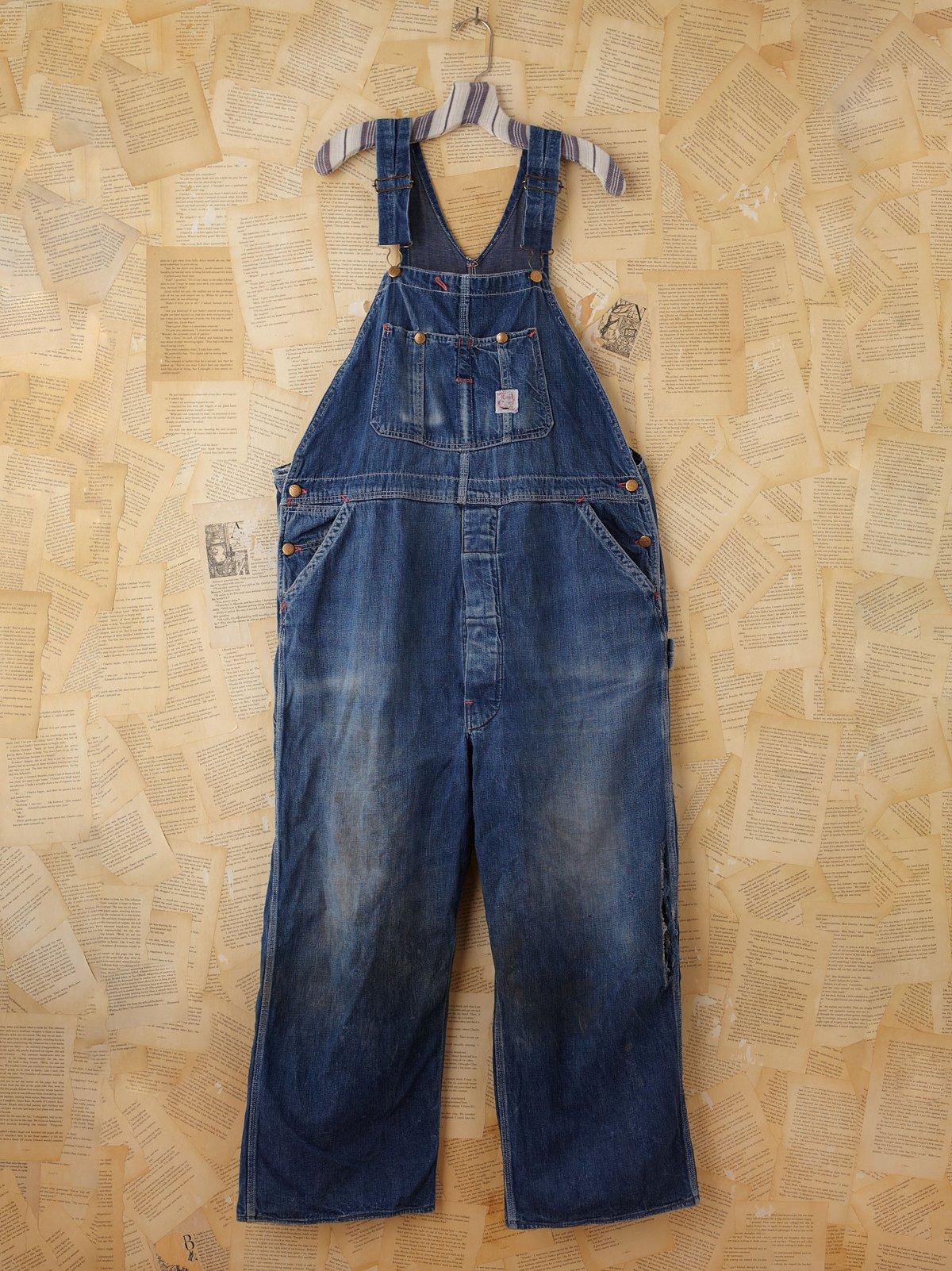 Vintage Distressed Denim Overalls