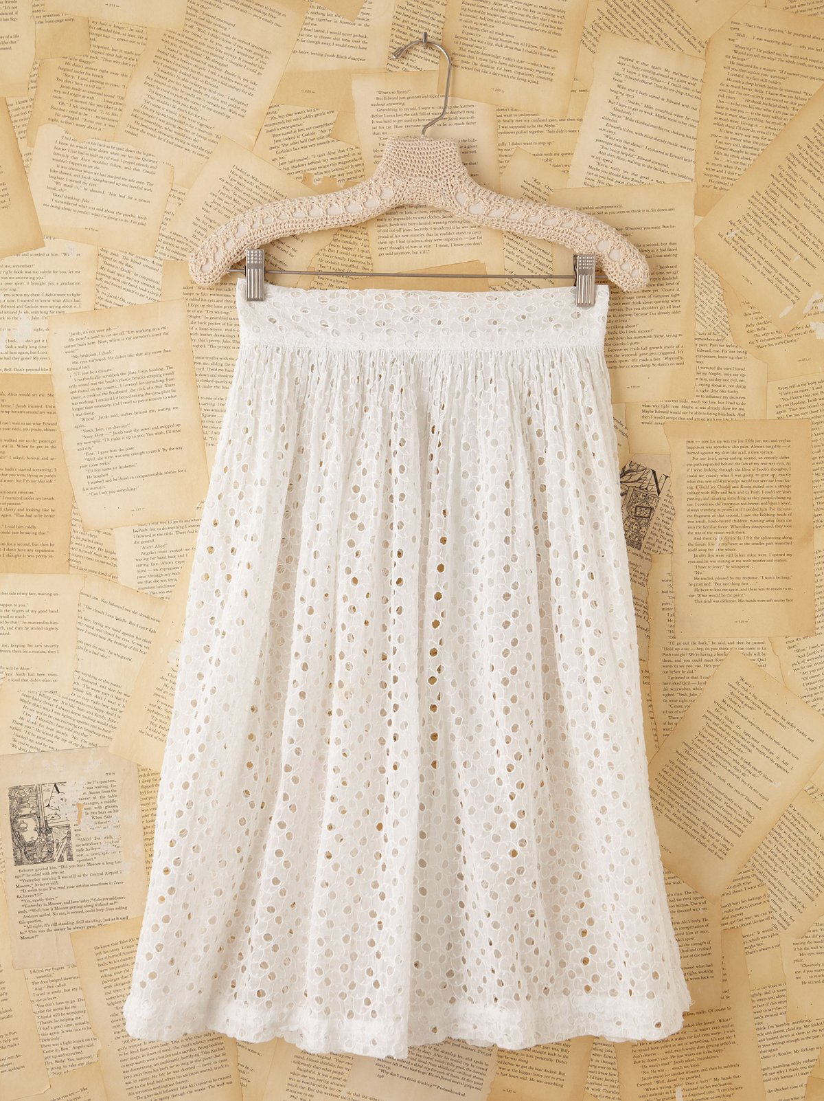 Vintage White Eyelet Open Front Skirt