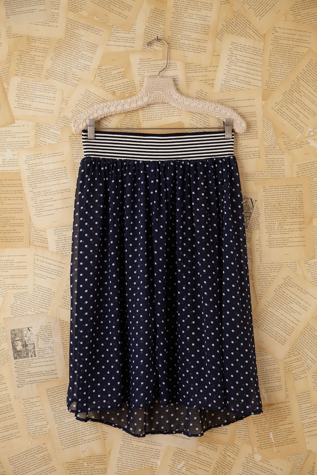 Vintage Sheer Blue Polka Dot Midi Skirt