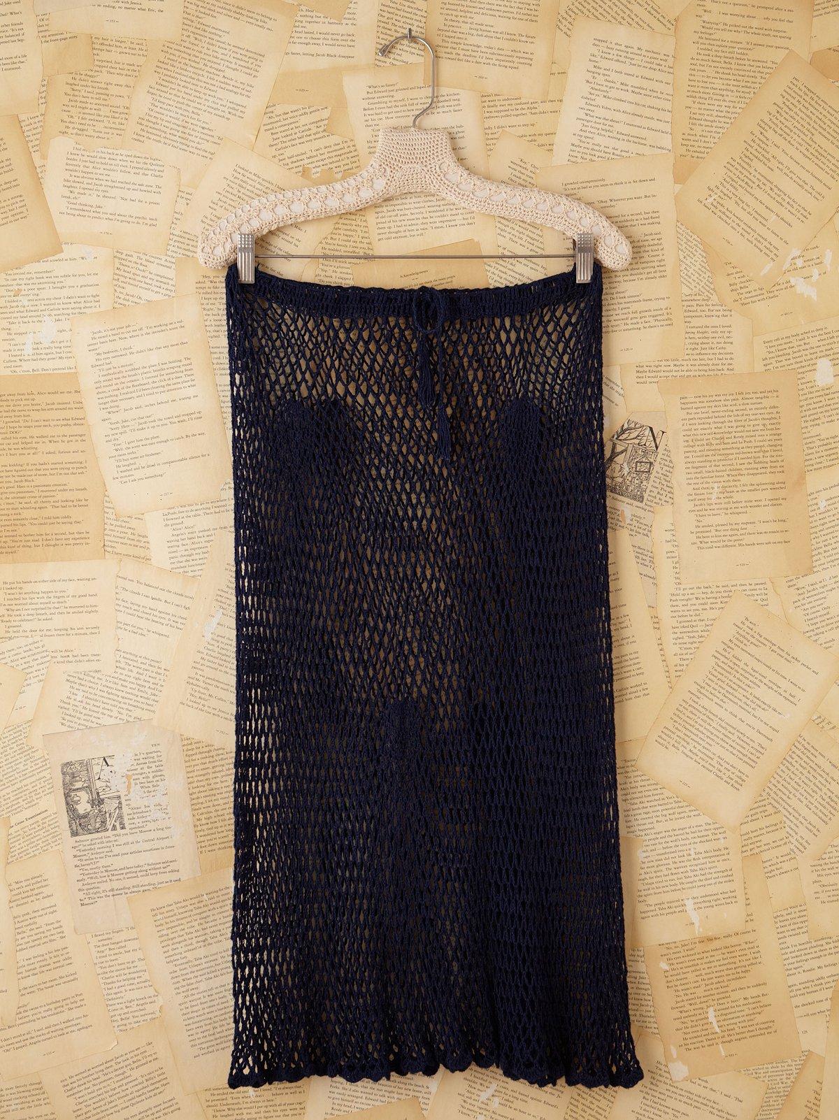 Vintage Navy Crochet Netted Skirt