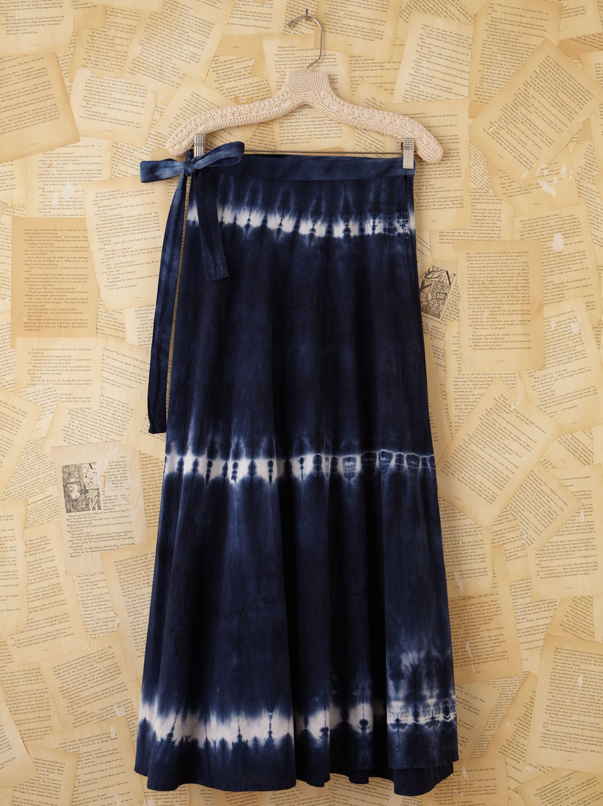 Vintage Blue Tie Dye Wrap Skirt
