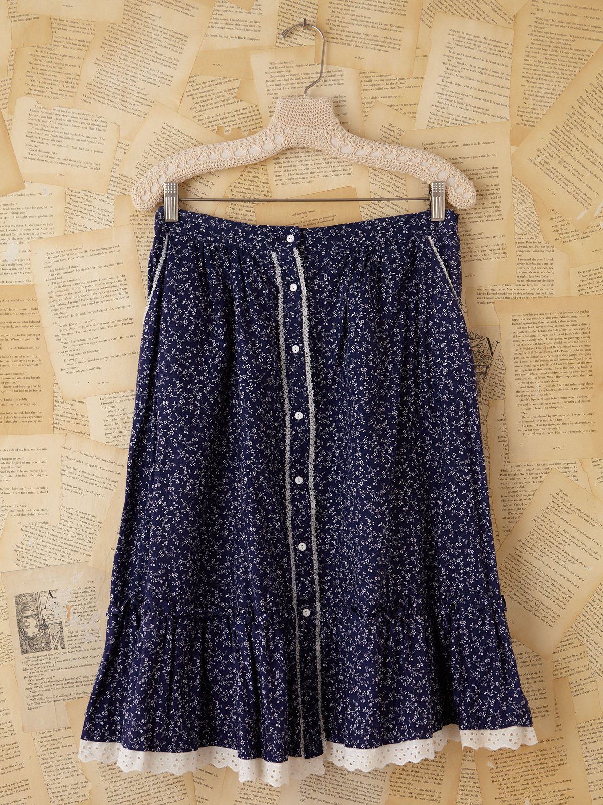 Vintage Blue Floral Printed Skirt