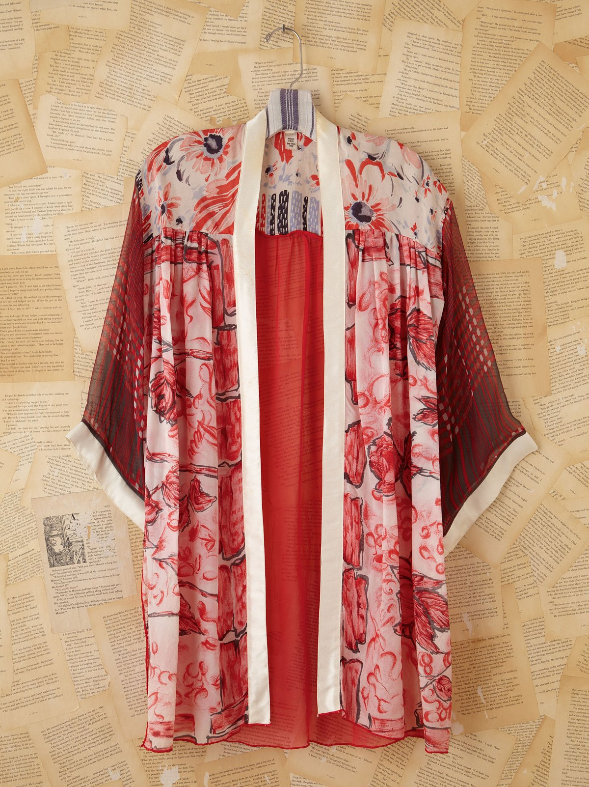 Vintage Red and White Printed Silk Kimono