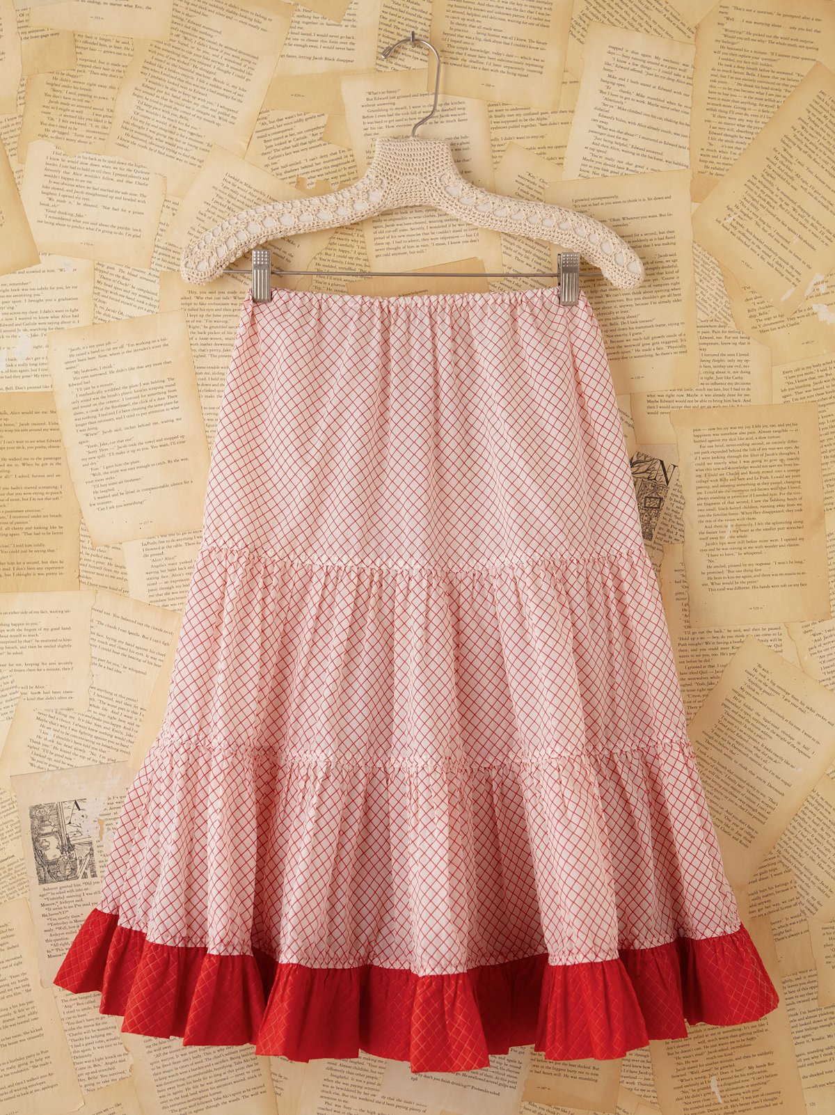 Vintage Red and White Checkered Petticoat Skirt