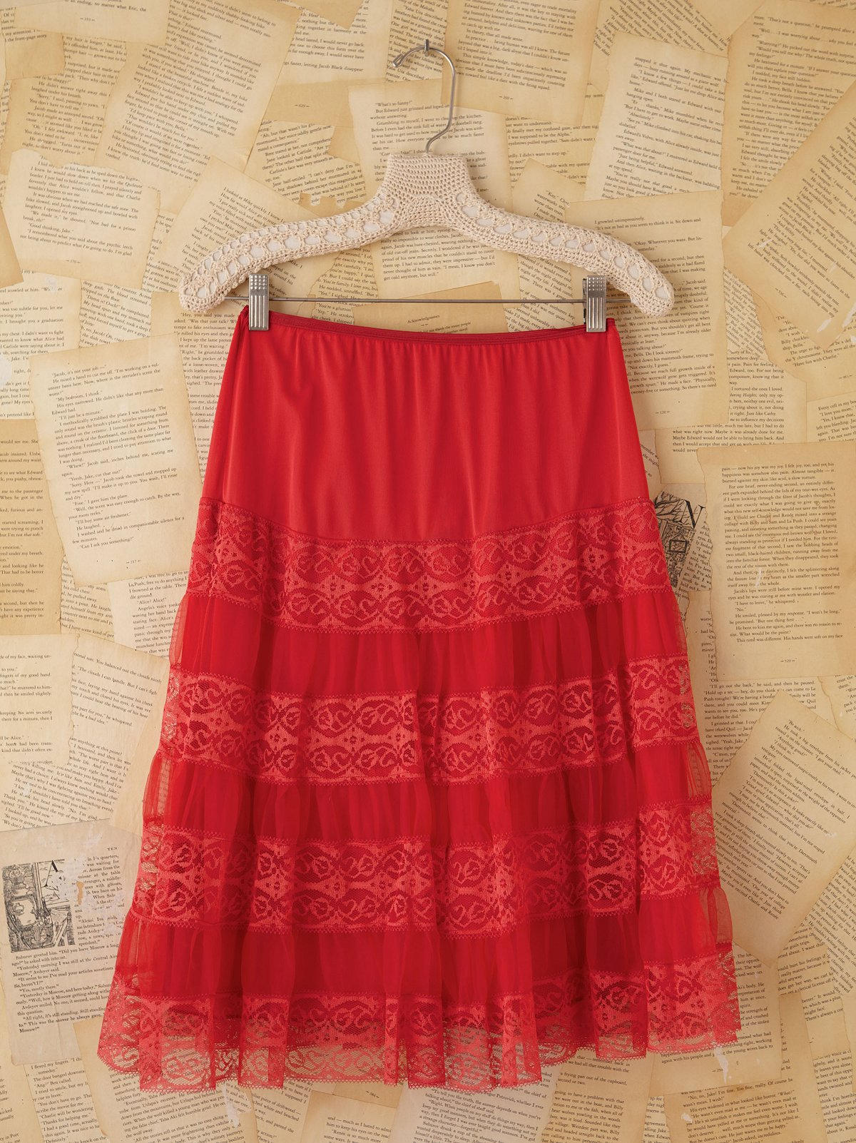 Vintage Red Mesh and Lace Slip Skirt