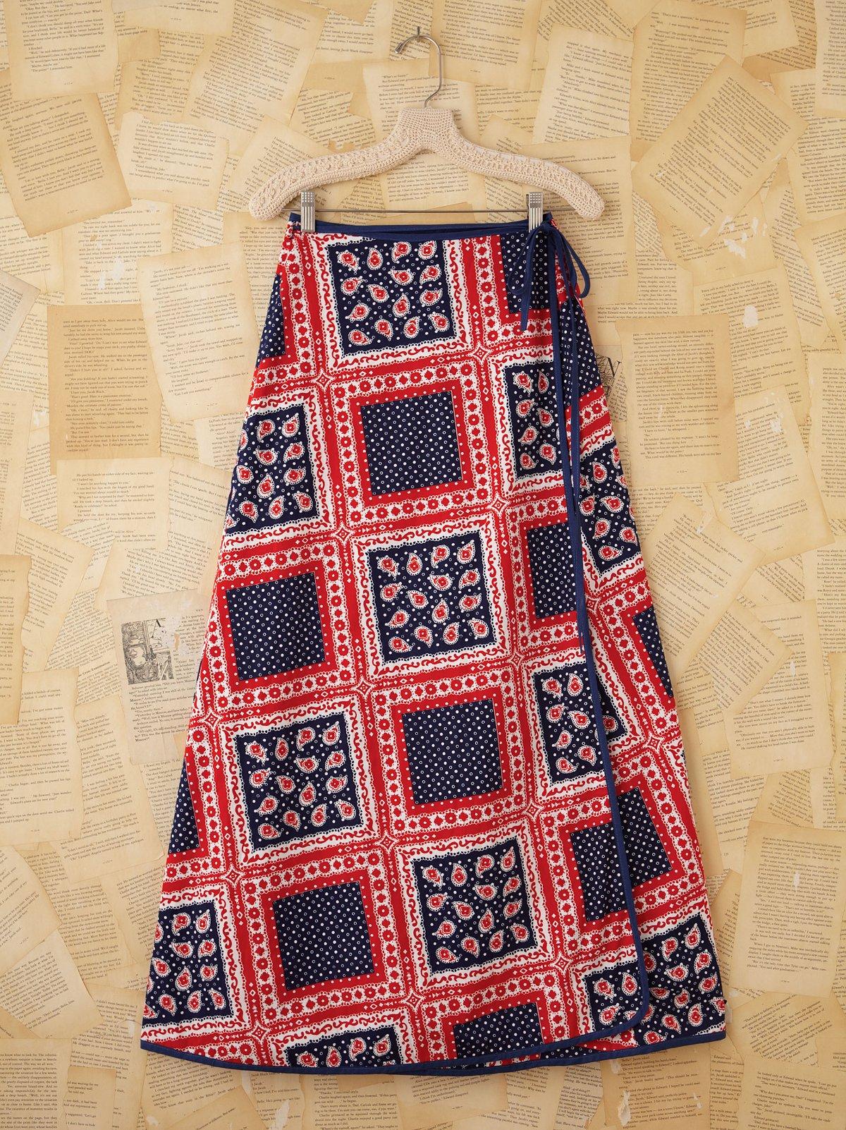 Vintage Patriotic Printed Maxi Wrap Skirt