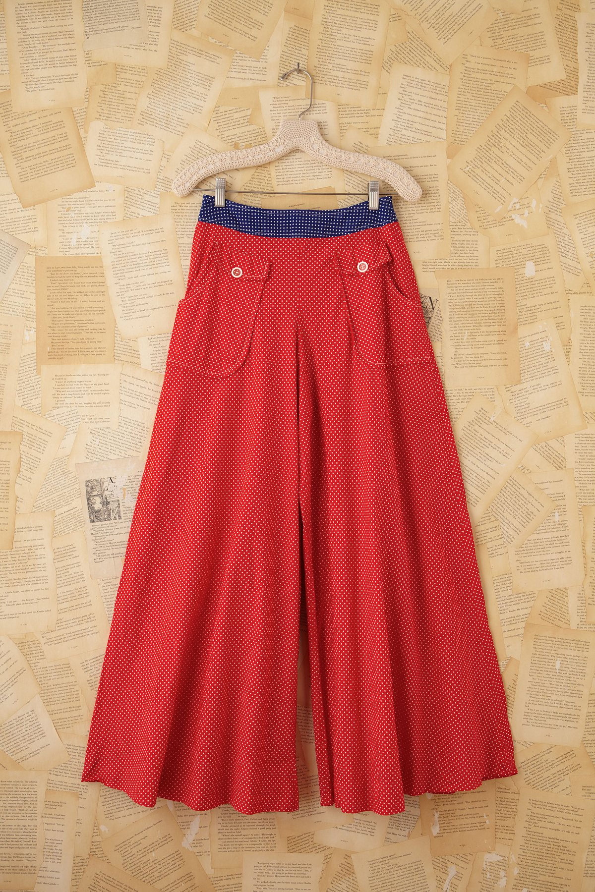 Vintage Patriotic Polka Dotted High-Waisted Pants