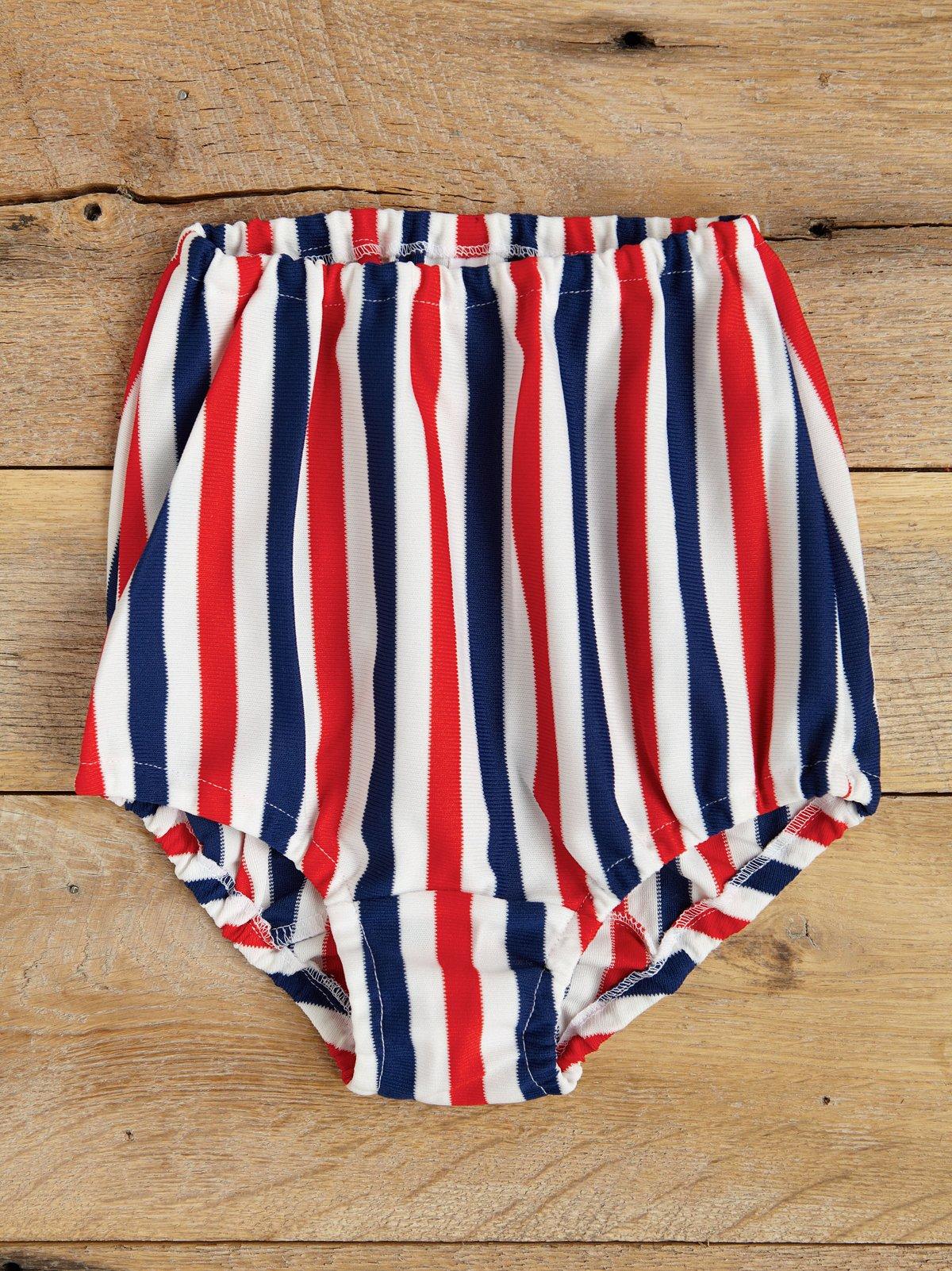 Vintage Striped High-Waisted Swim Bottom
