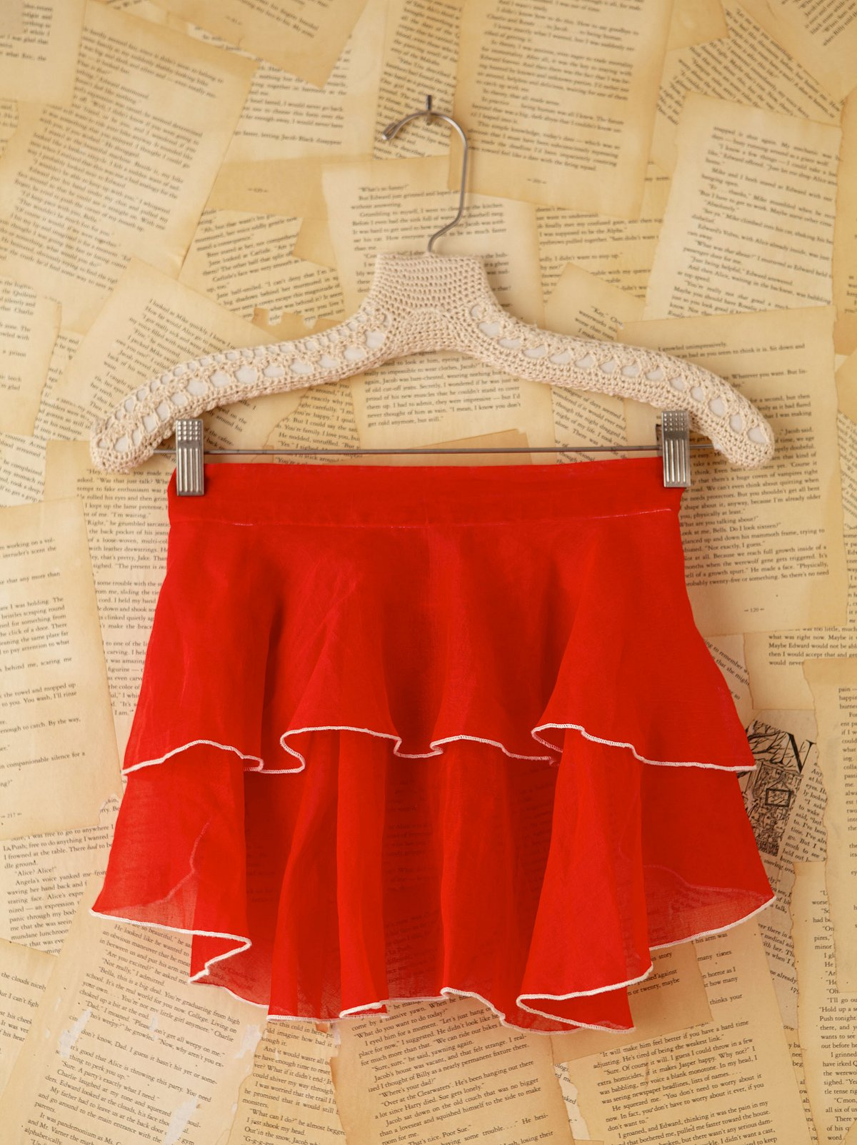 Vintage Sheer Red Mini Apron Skirt