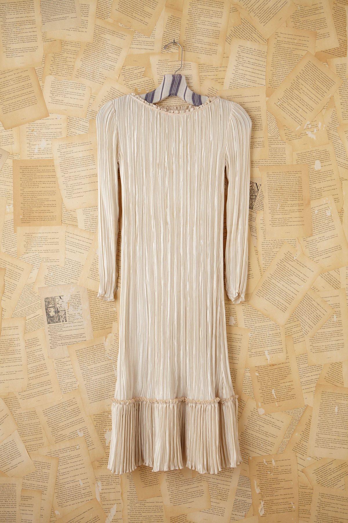 Vintage Cream Silk Pleated Dress