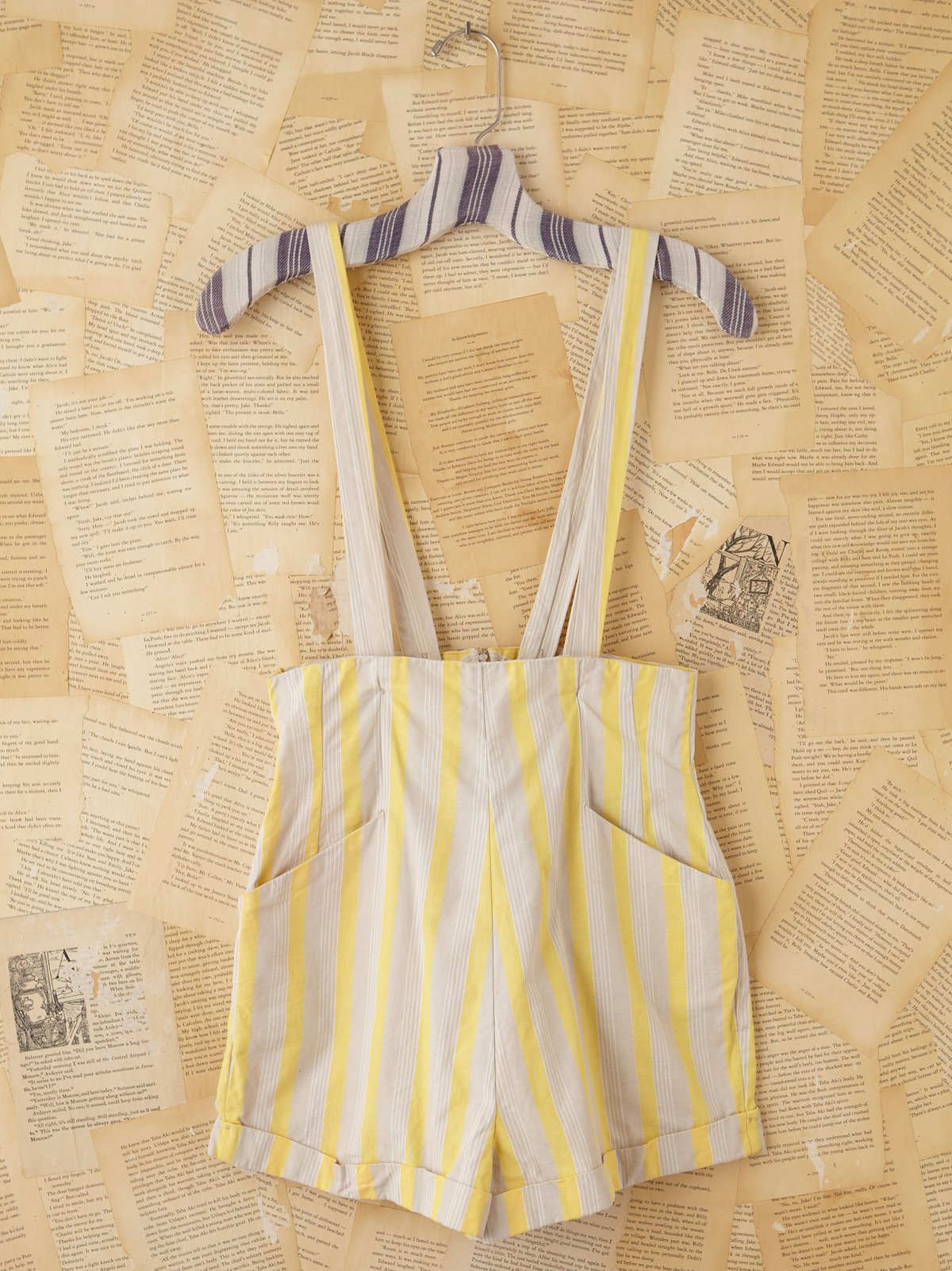 Vintage Yellow and Creme Striped Romper