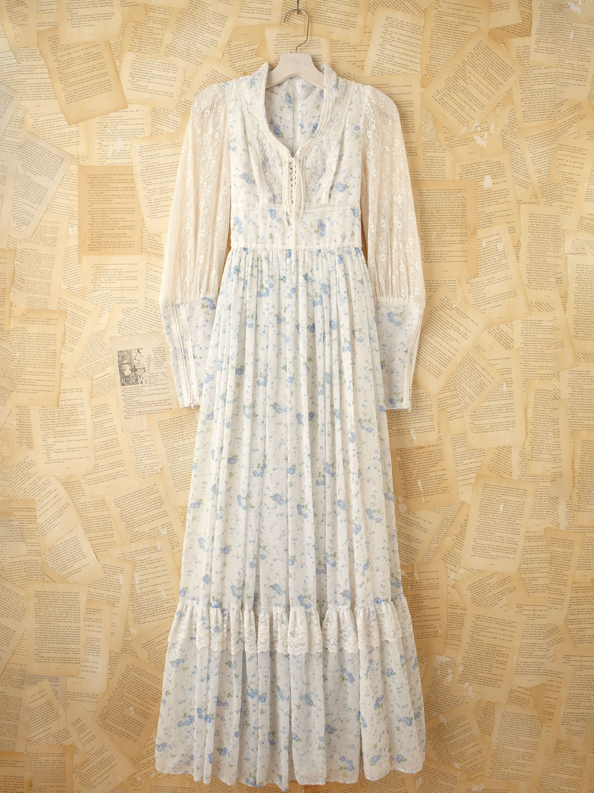 Vintage Gunne Sax Blue Floral Printed Maxi Dress