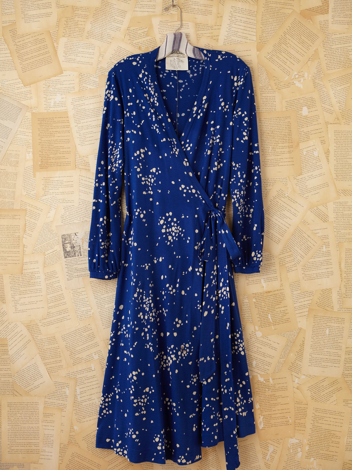 Vintage Diane von Furstenberg Blue Printed Wrap Dress