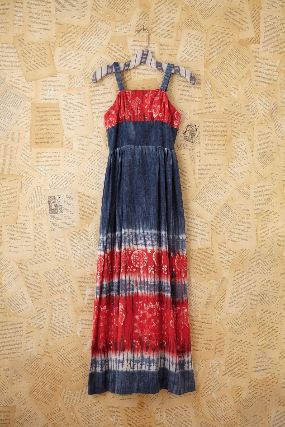 Vintage Patriotic Tie Dye Maxi Dress