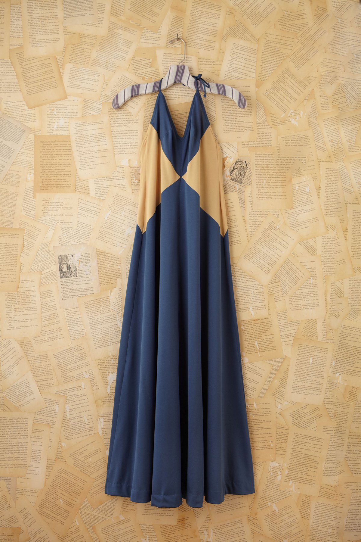 Vintage Blue and Yellow Maxi Halter Dress