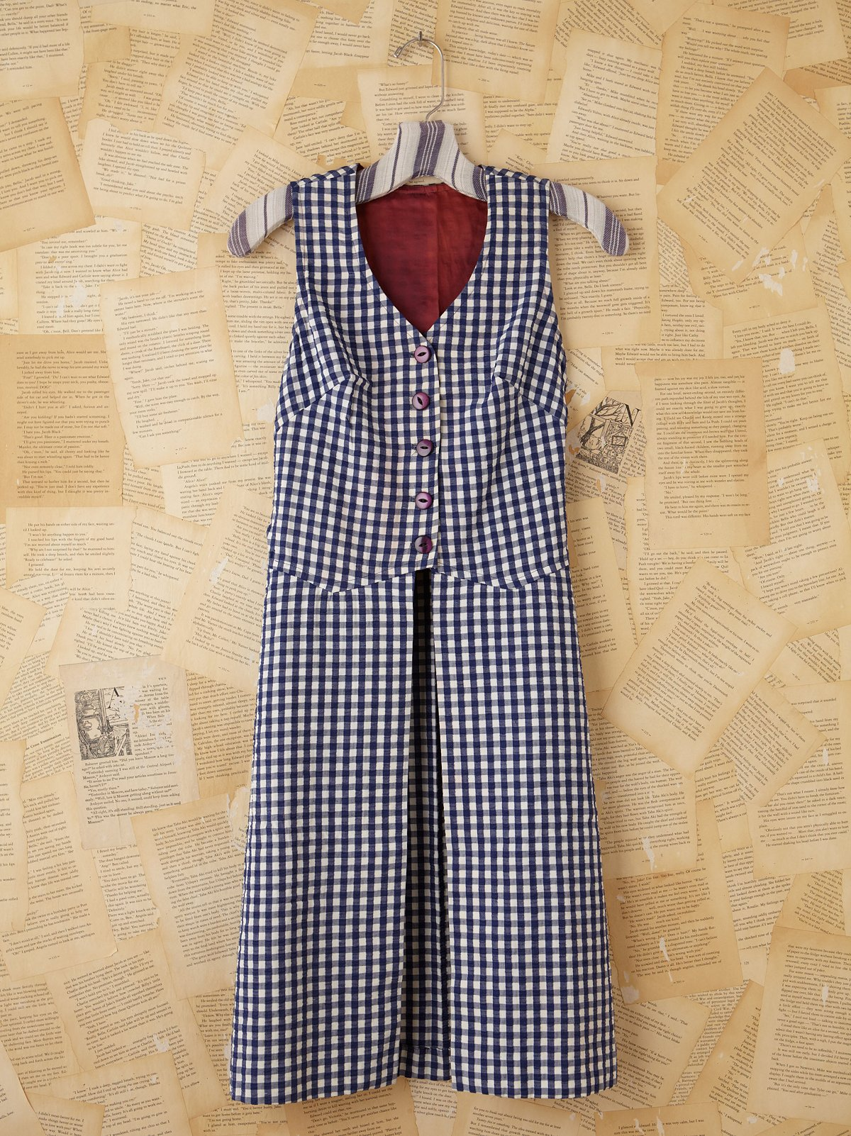 Vintage Gingham Open Front Dress