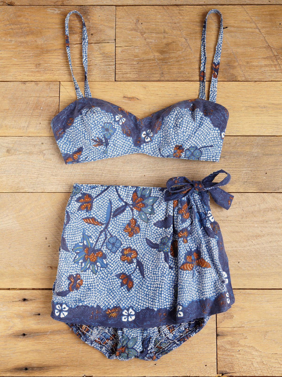 Vintage Batik Printed Two-Piece Playset