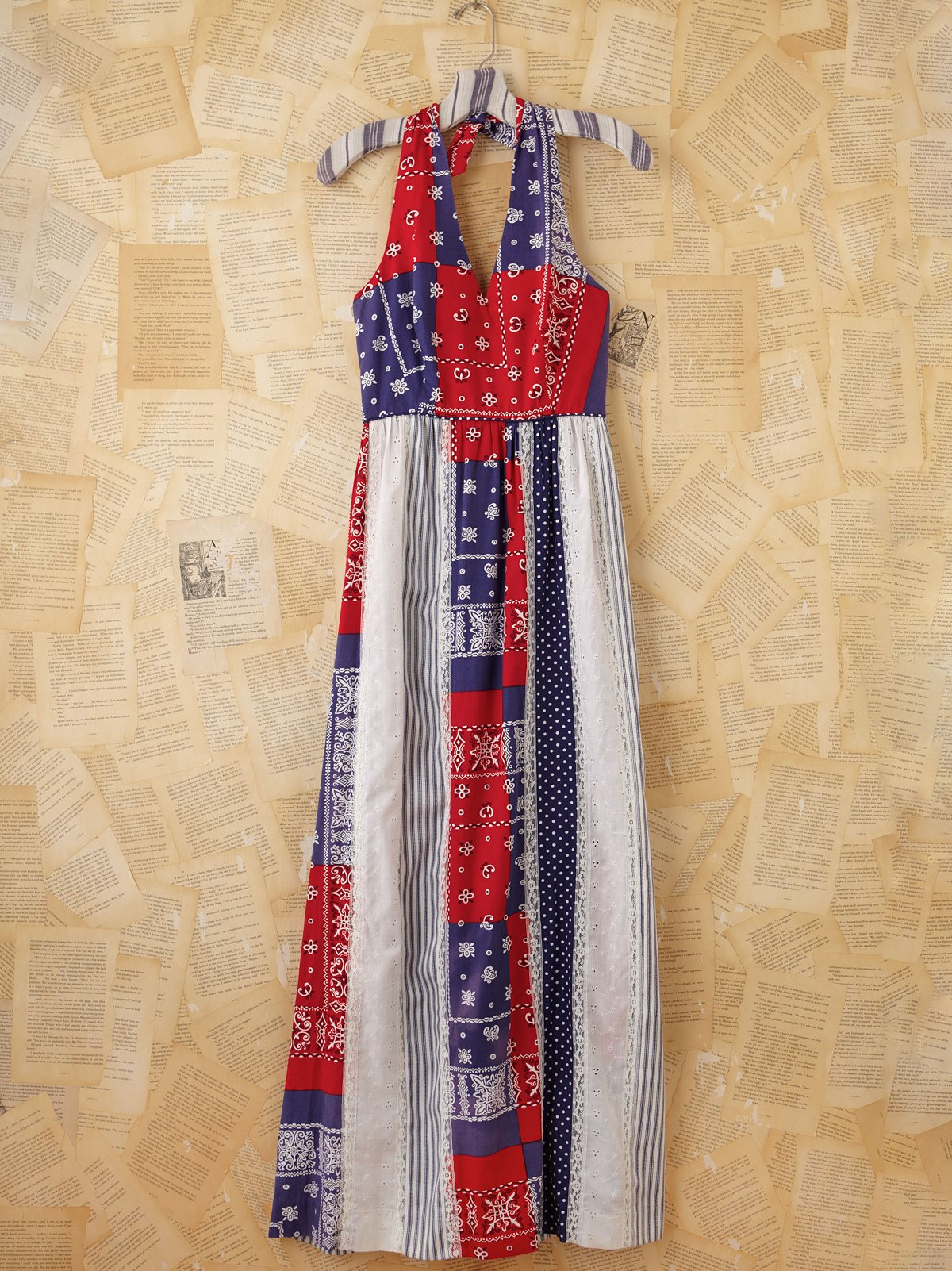 Vintage Bandana Printed Maxi Halter Dress