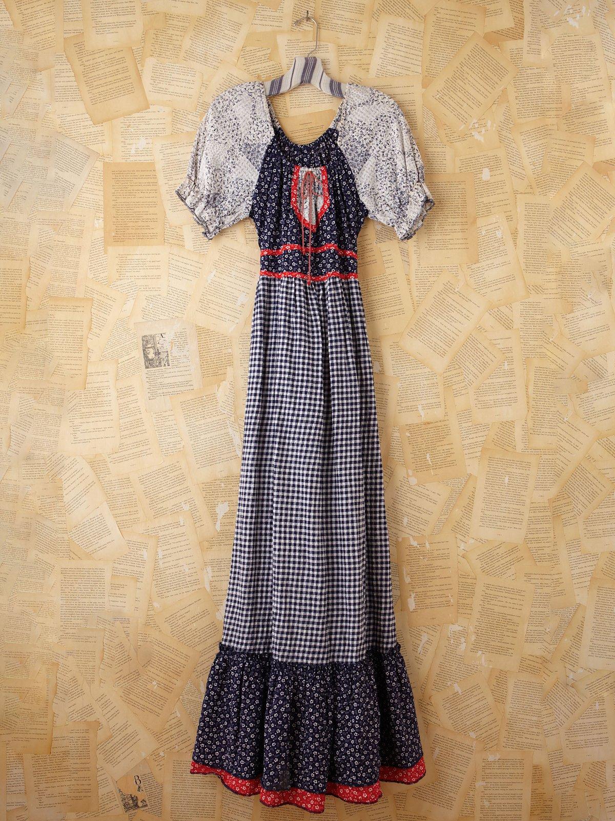 Vintage Printed Maxi Peasant Dress