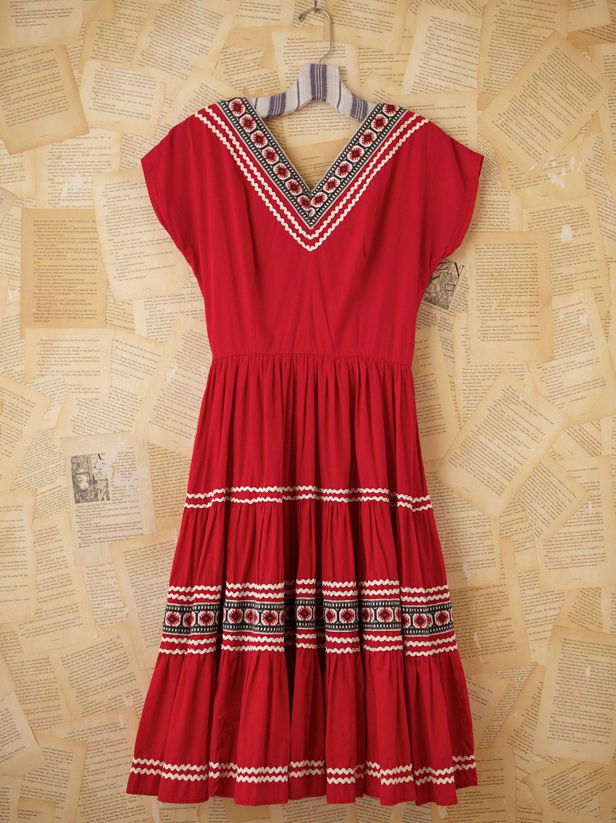 Vintage 80s Embroidered Dress