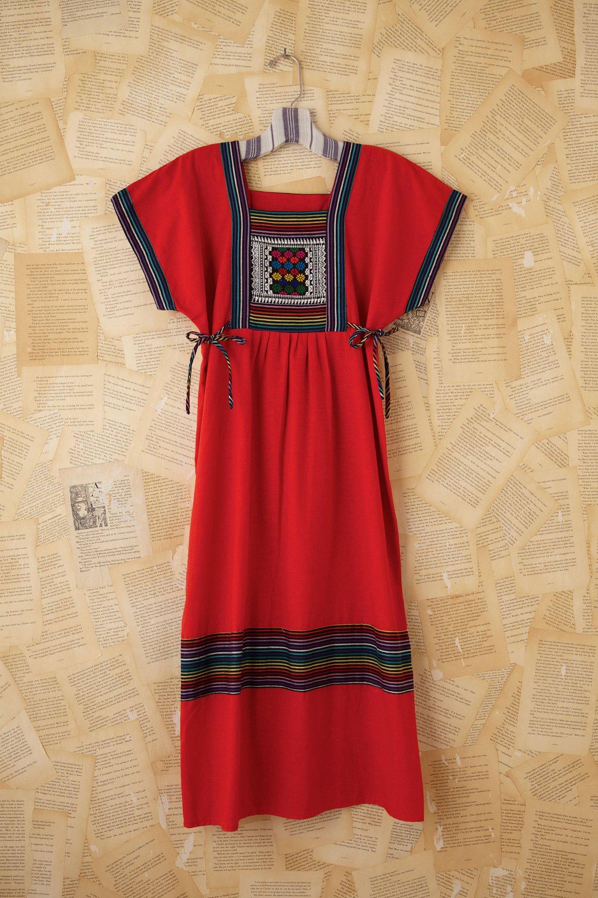 Vintage Red Embroidered Dress
