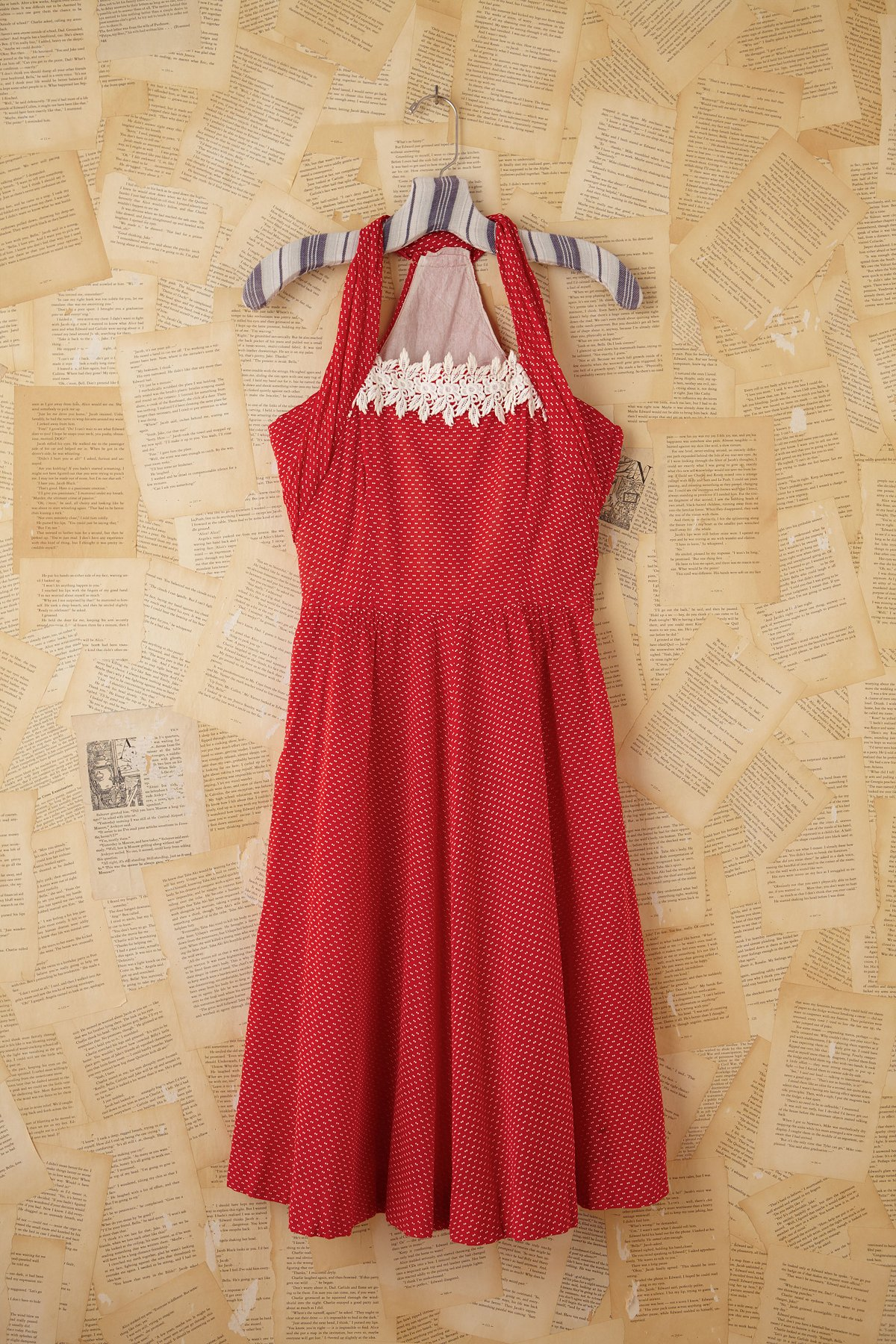 Vintage Red Dotted Swiss Crochet Dress