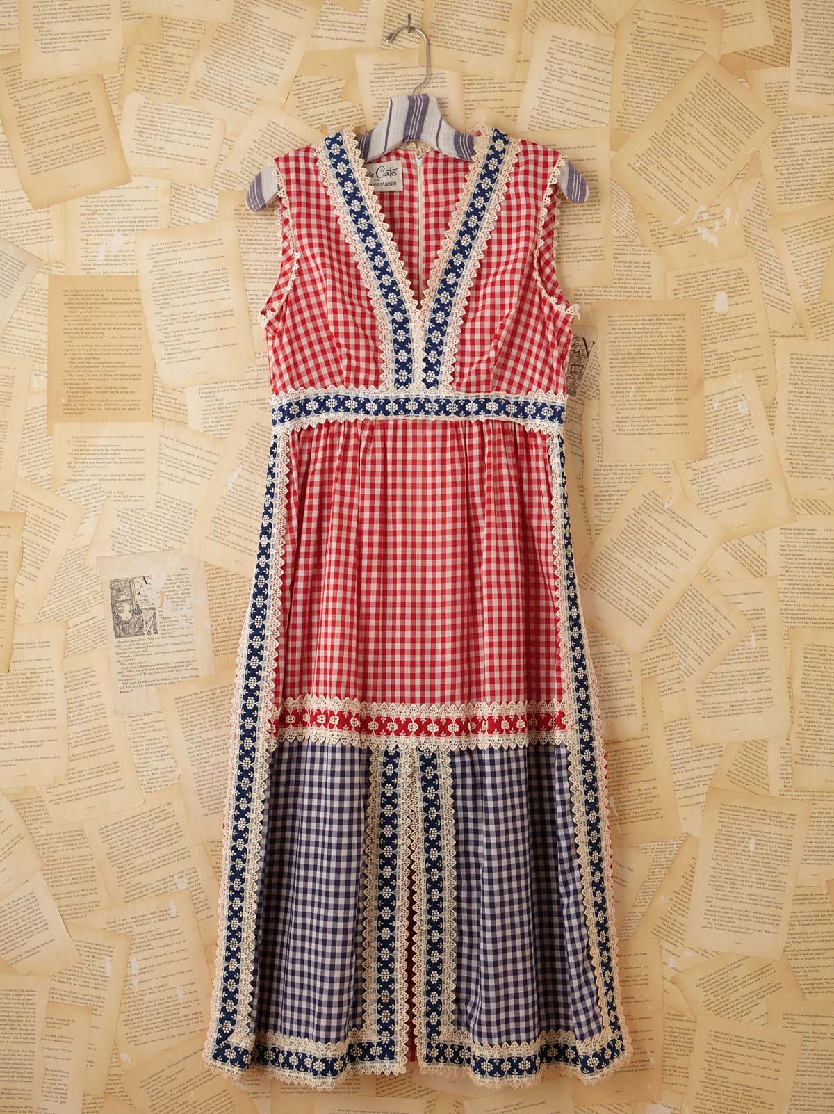 Vintage Gingham and Crochet Dress