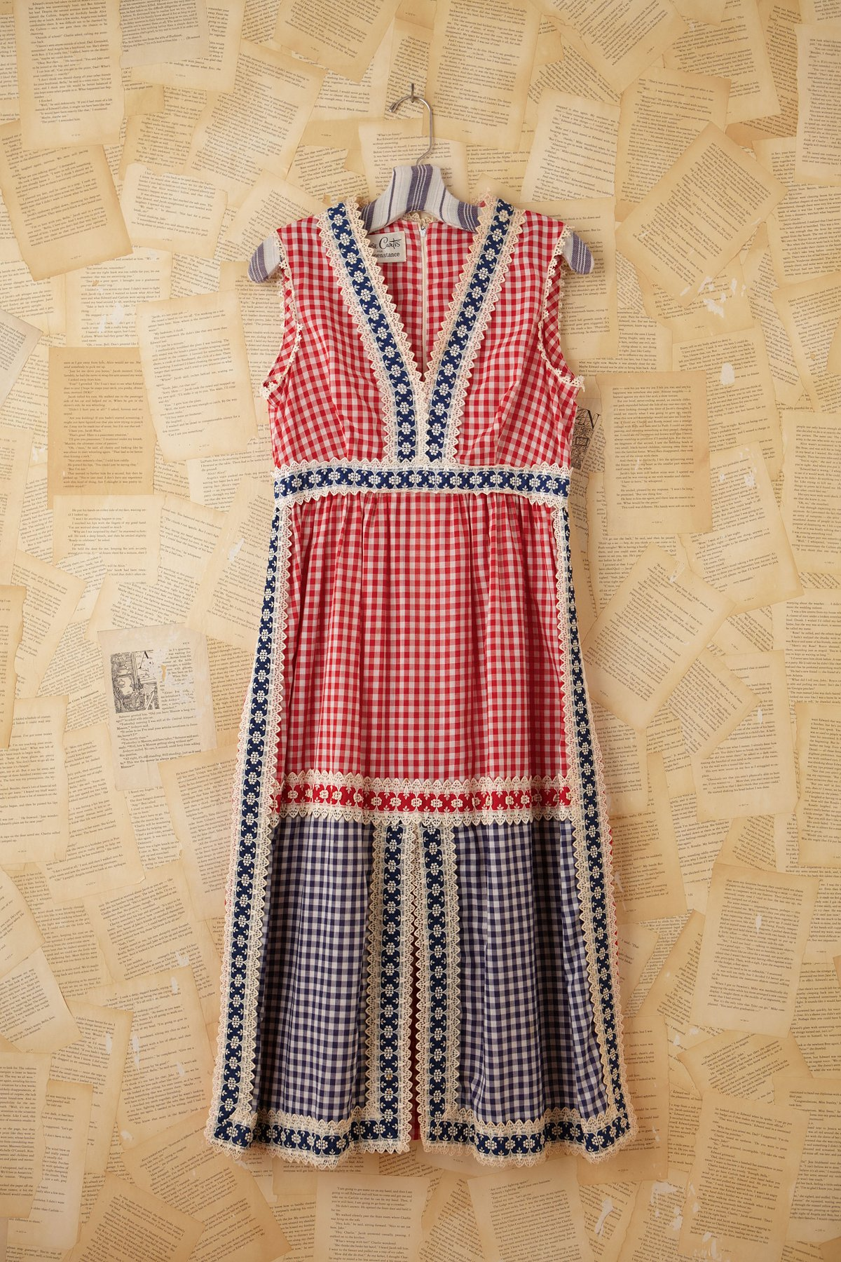 Vintage Gingham and Crochet Dress