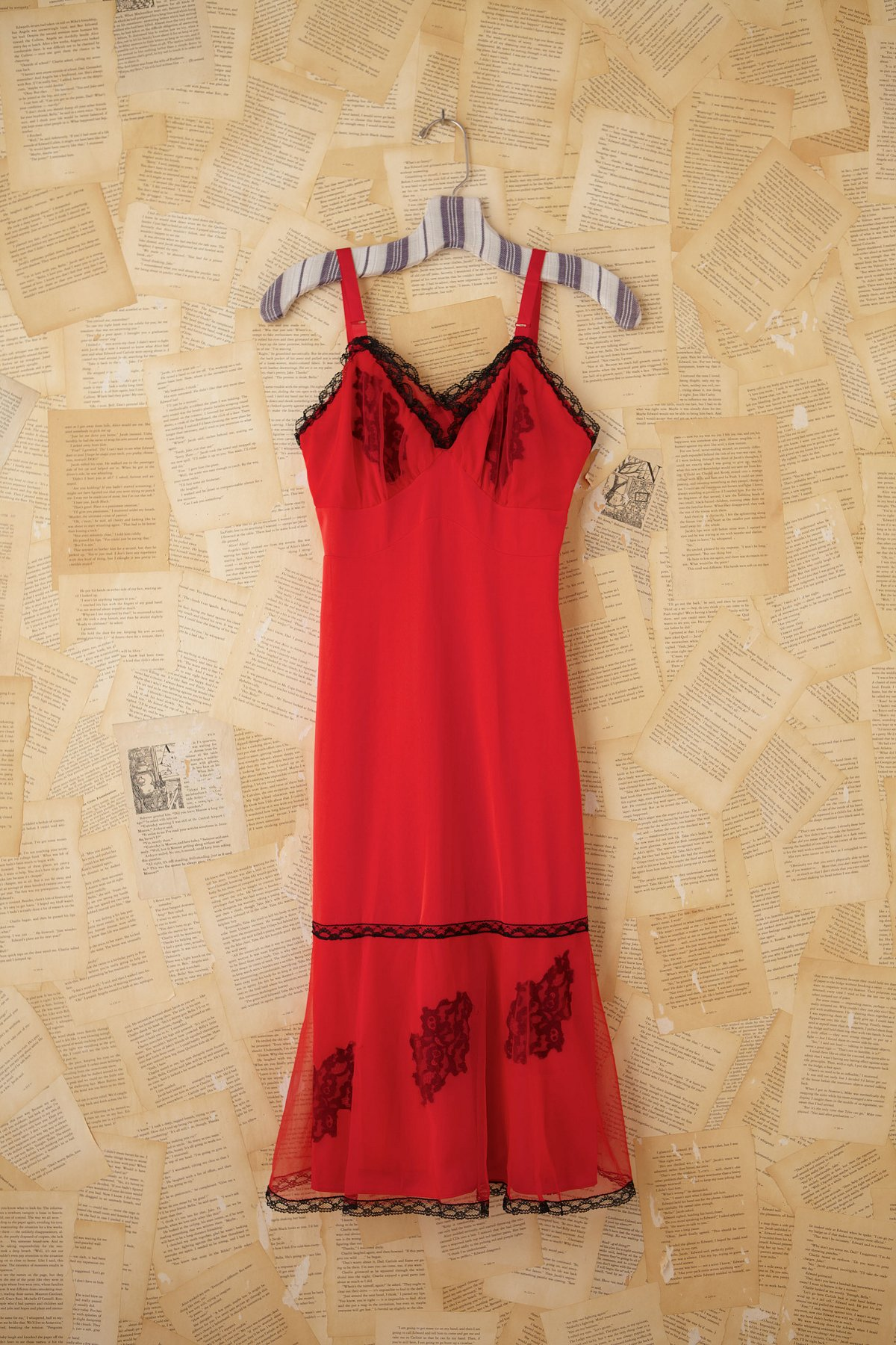 Vintage Red and Black Slip