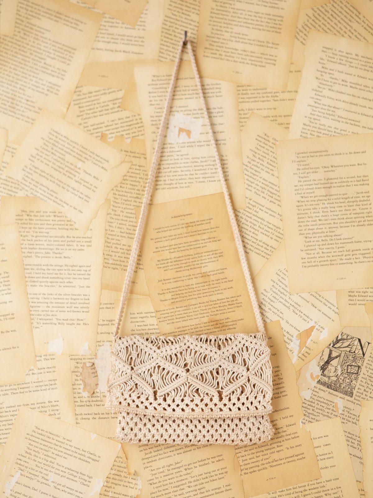 Vintage Crochet Macrame Pouch Purse