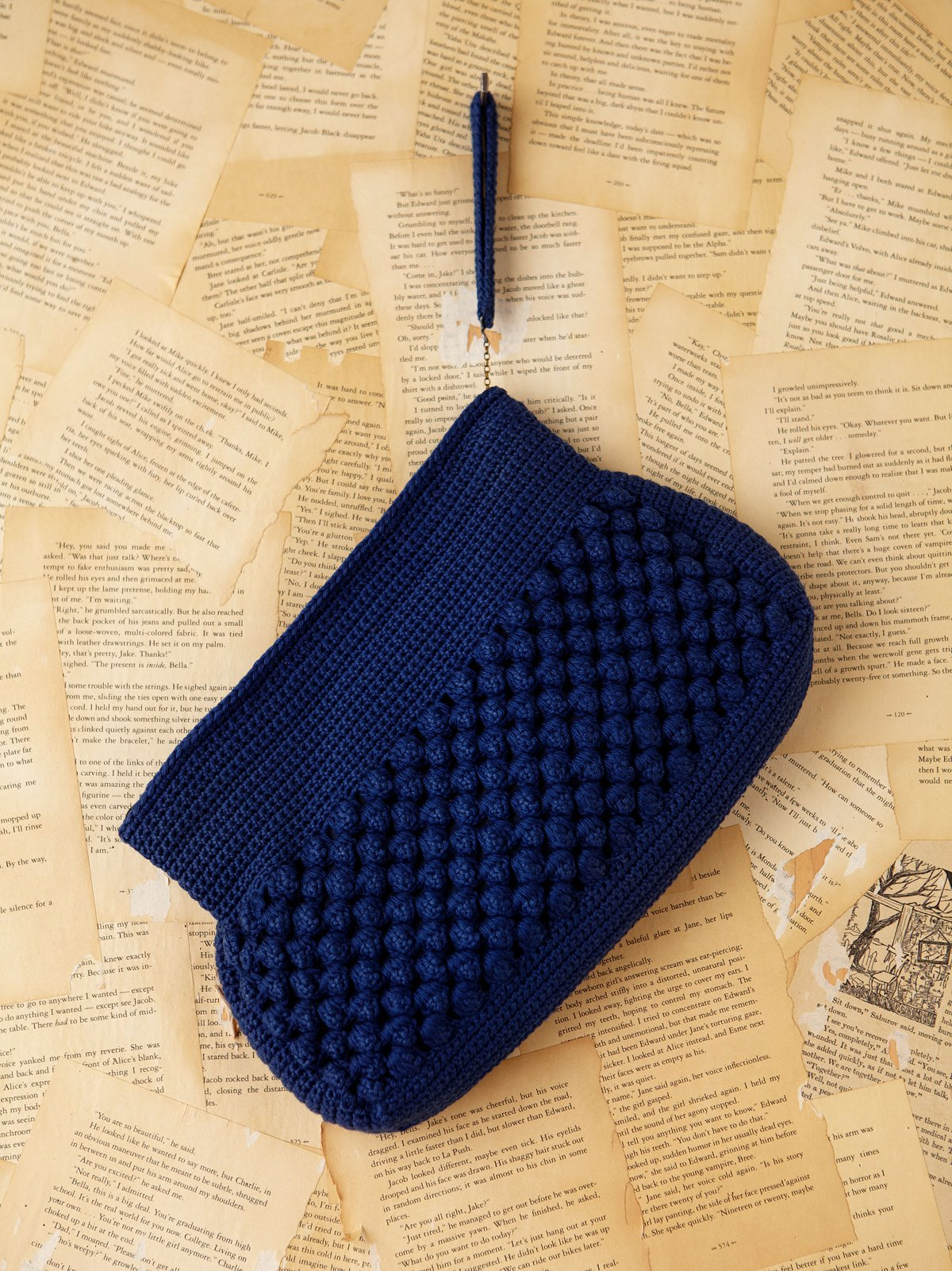 Vintage Blue Knitted Clutch