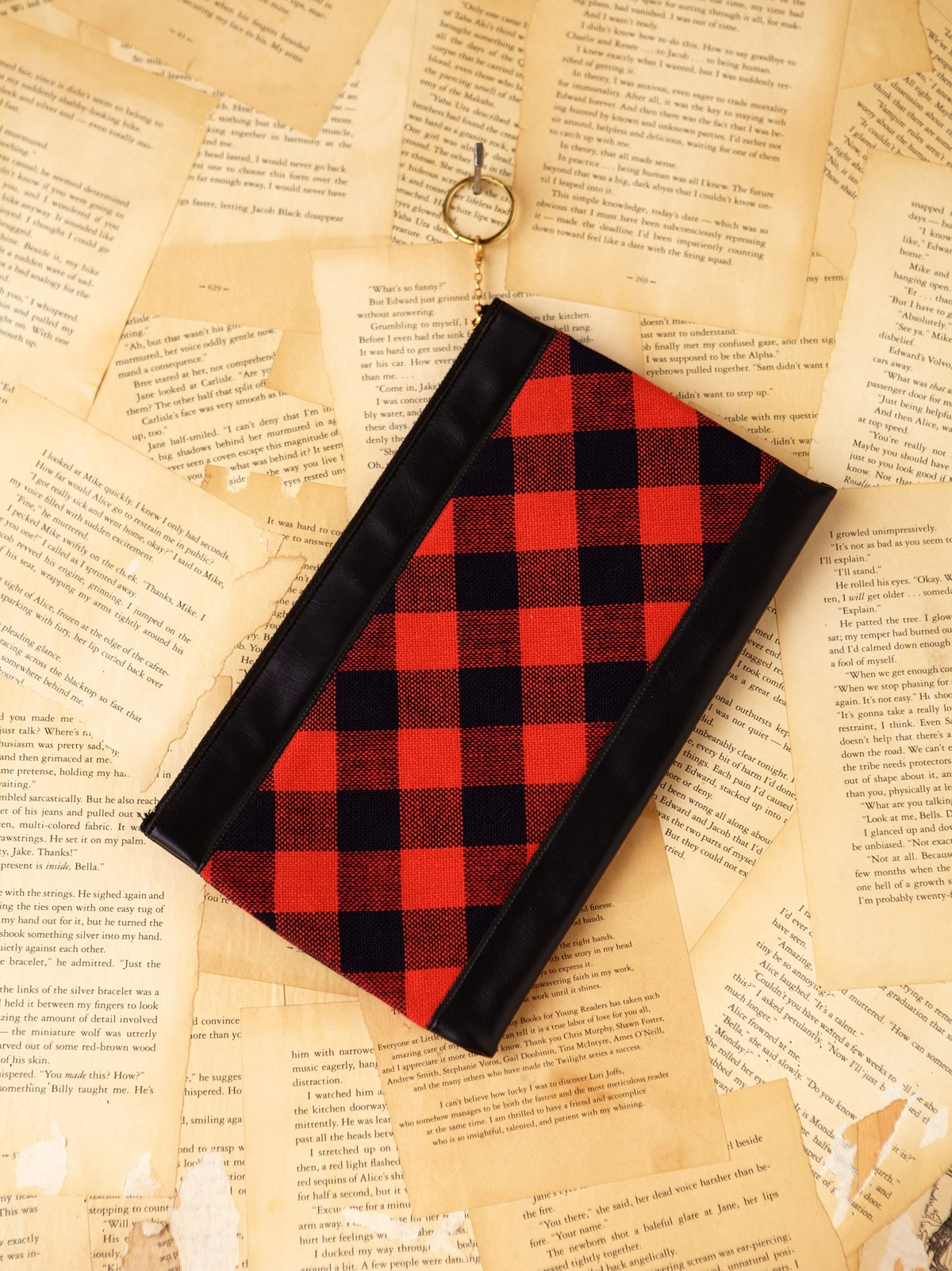 Vintage Red and Black Checkered Clutch