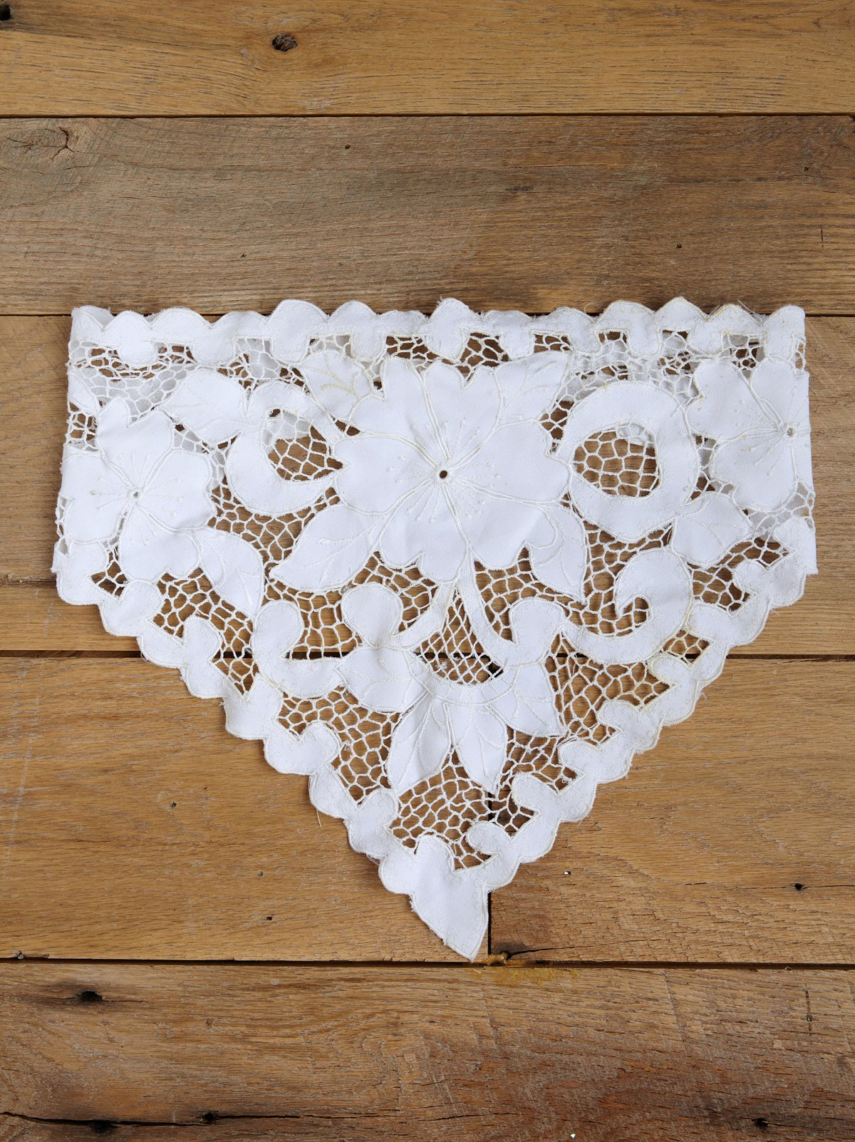 Vintage White Cotton Embroidered Handkerchief