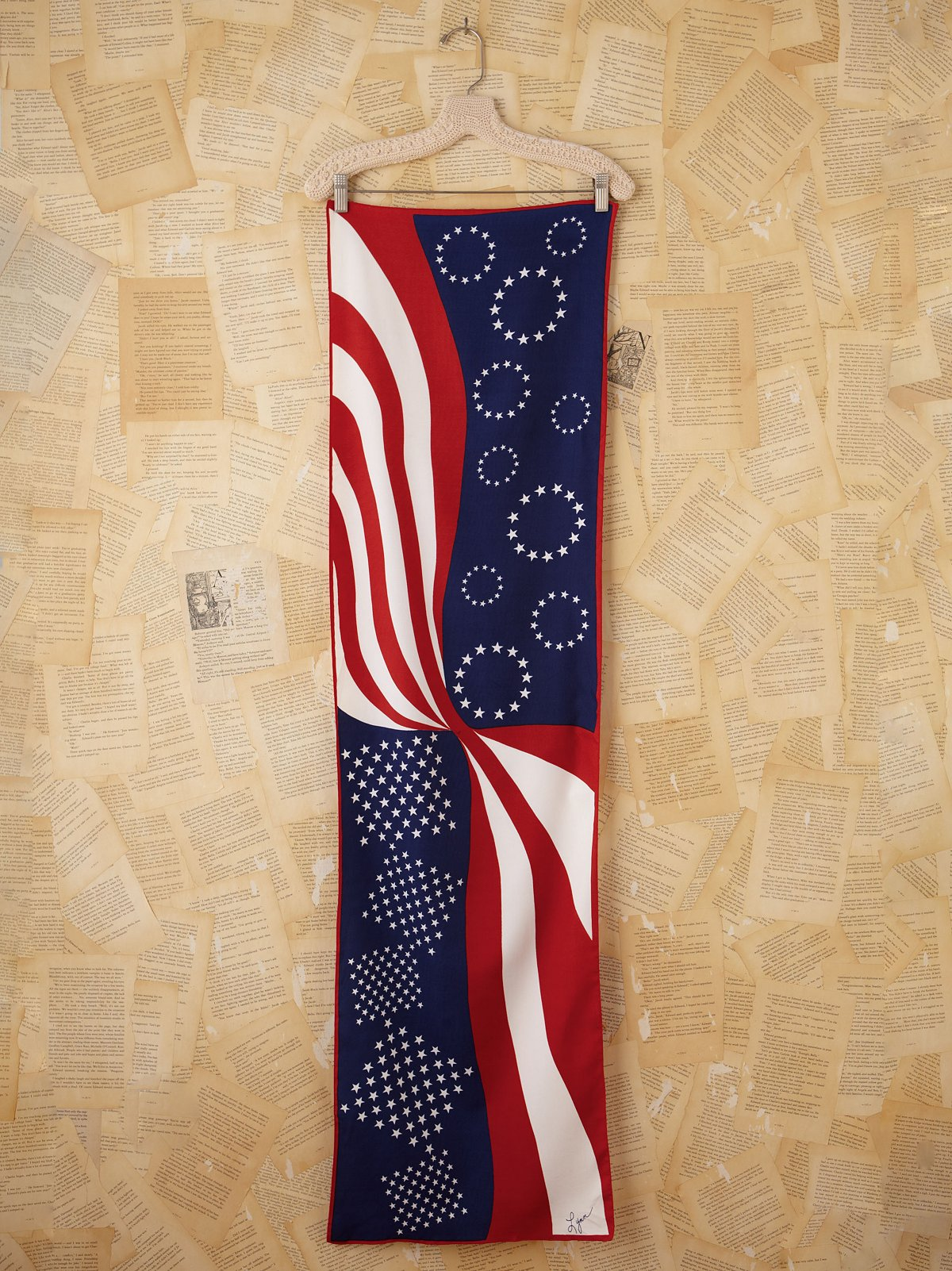 Vintage Patriotic Printed Long Silk Scarf