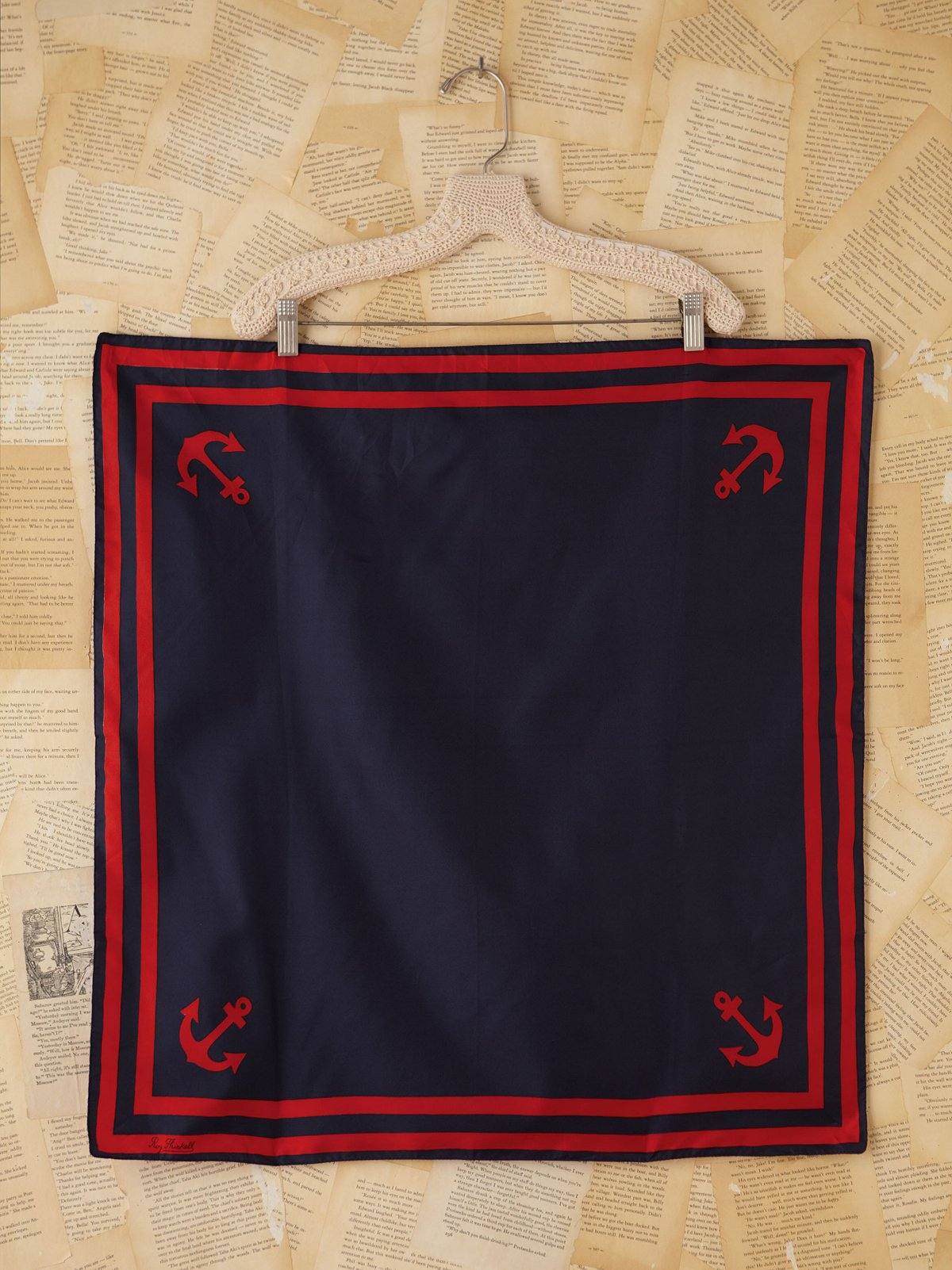 Vintage Red and Blue Sailor Silk Scarf