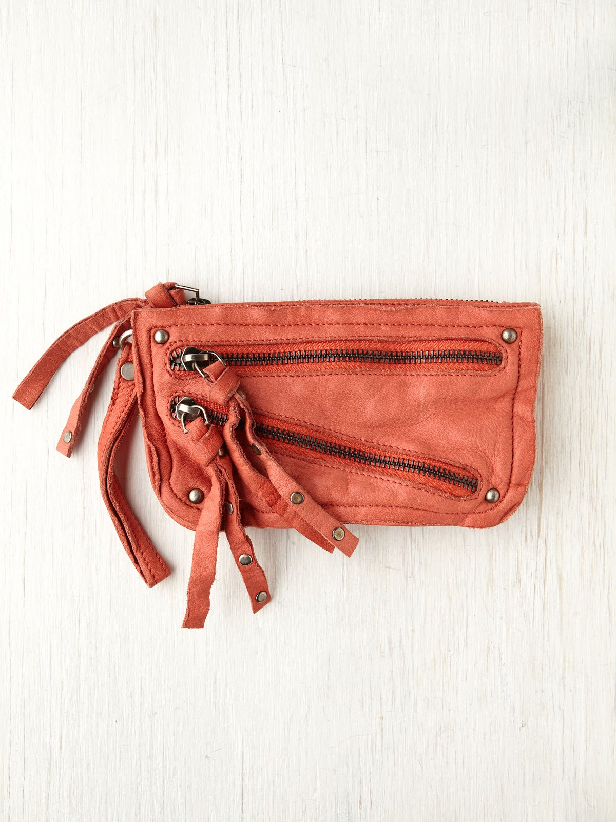Distressed Double Zip Wallet