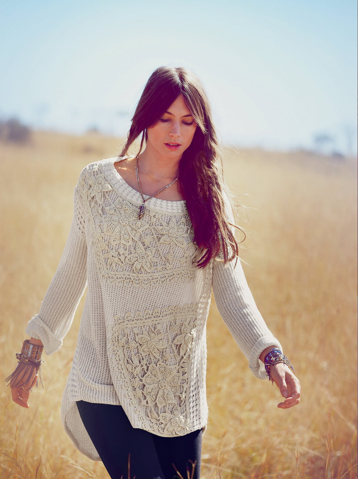 FP New Romantics Reflections in Crochet Pullover