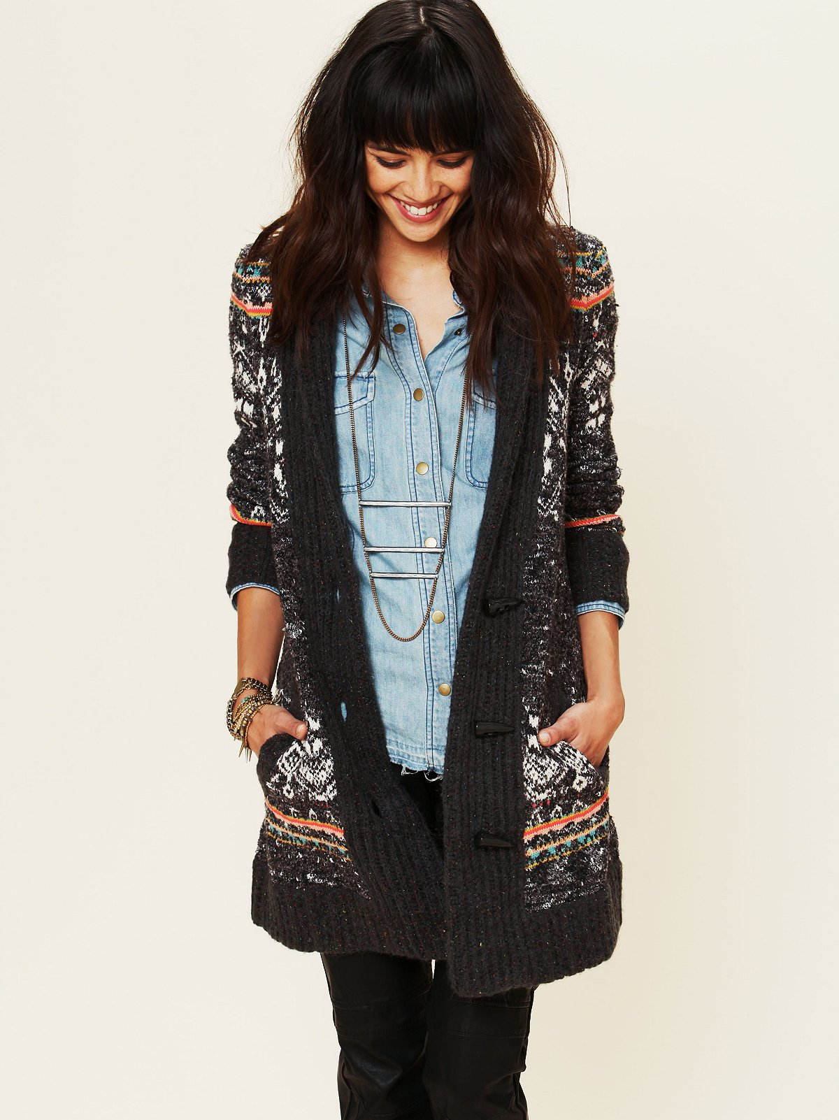 Speckled Rib Trim Cardigan