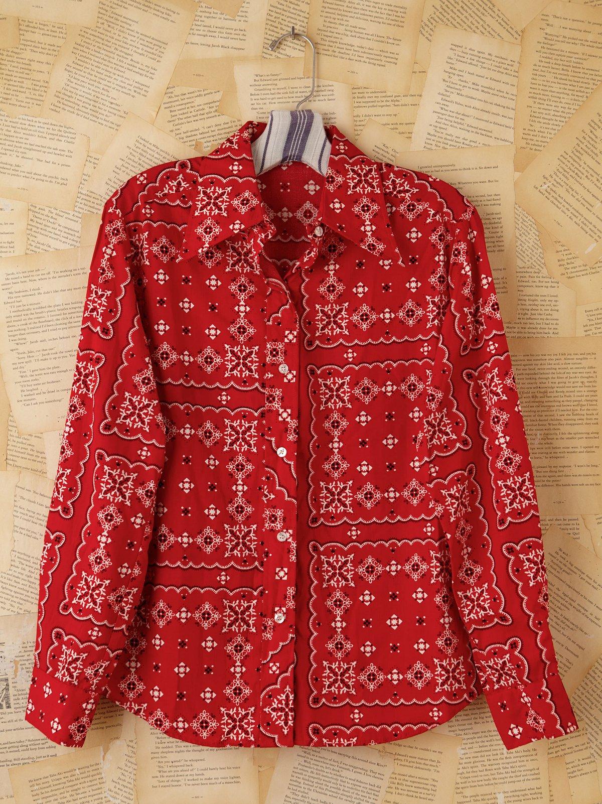 Vintage Red Bandana Printed Top
