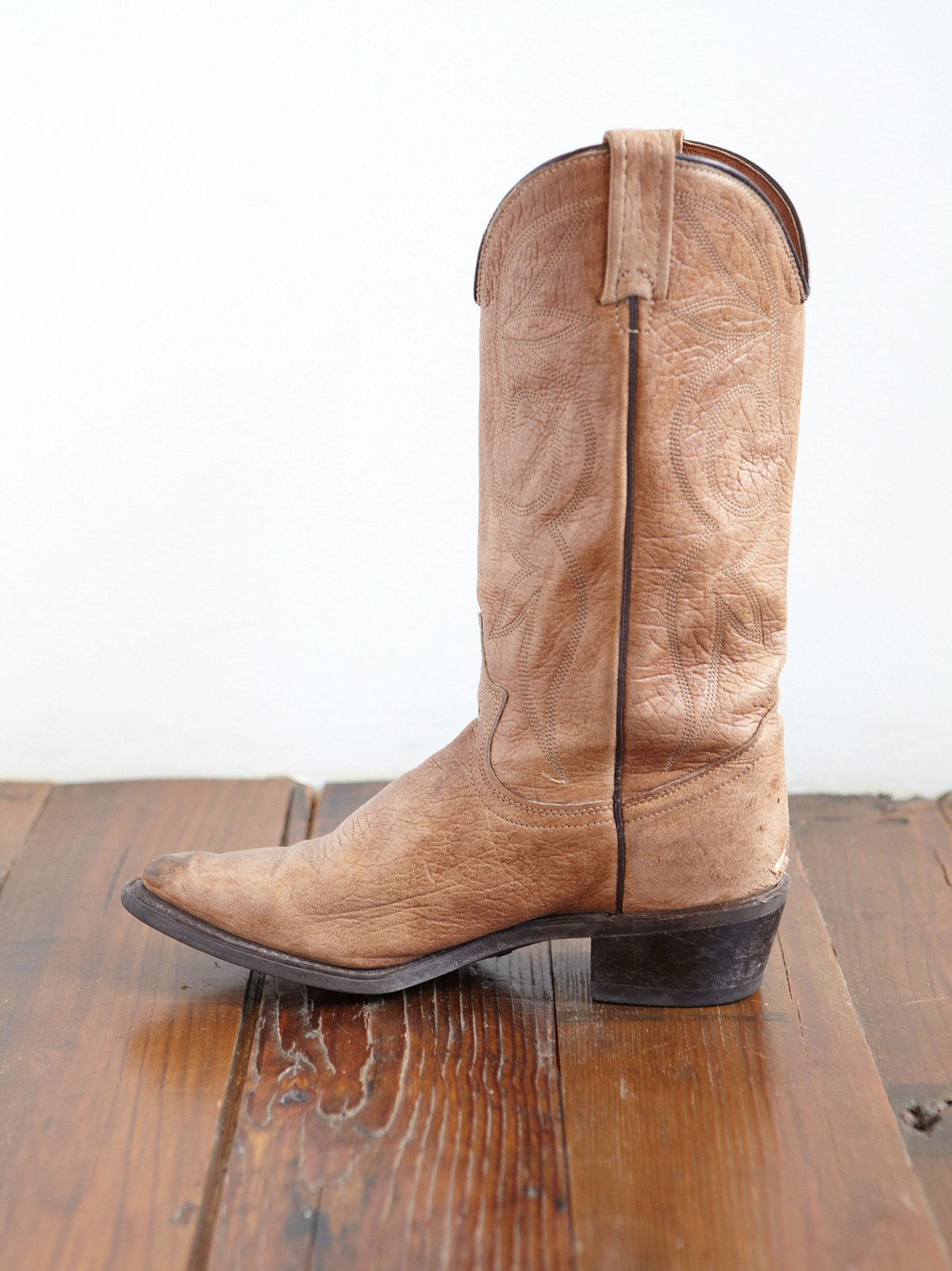 Vintage Distressed Leather Cowboy Boots