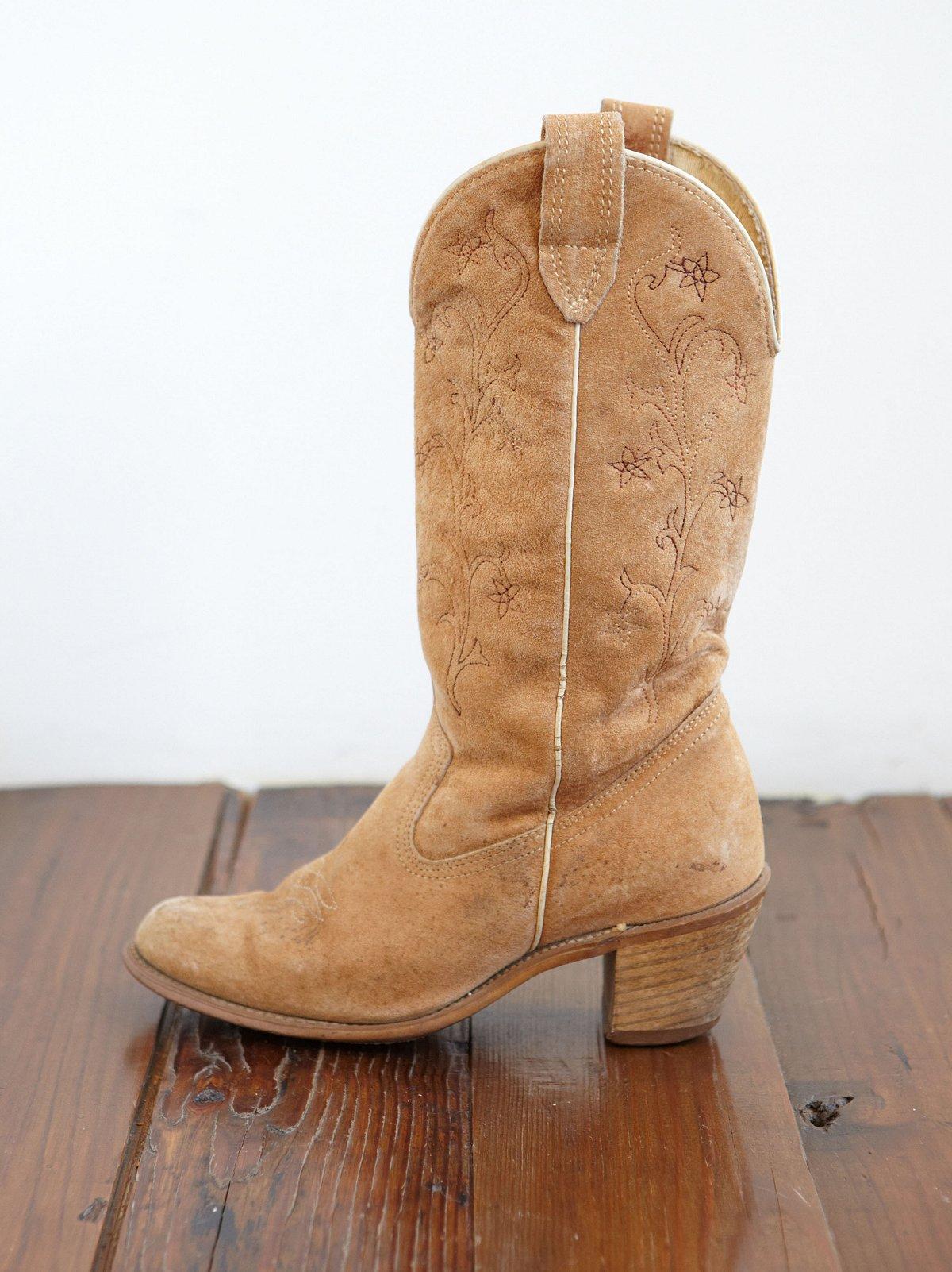 Vintage Suede Floral Stitched Cowboy Boots