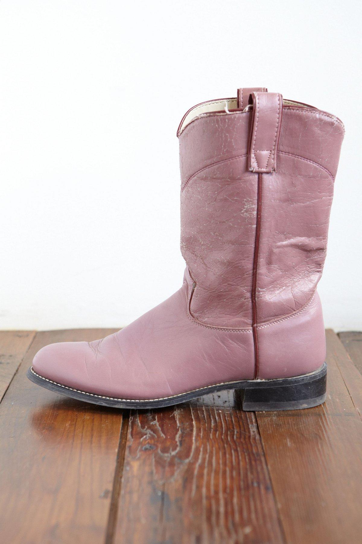 Vintage Purple Leather Cowboy Boots