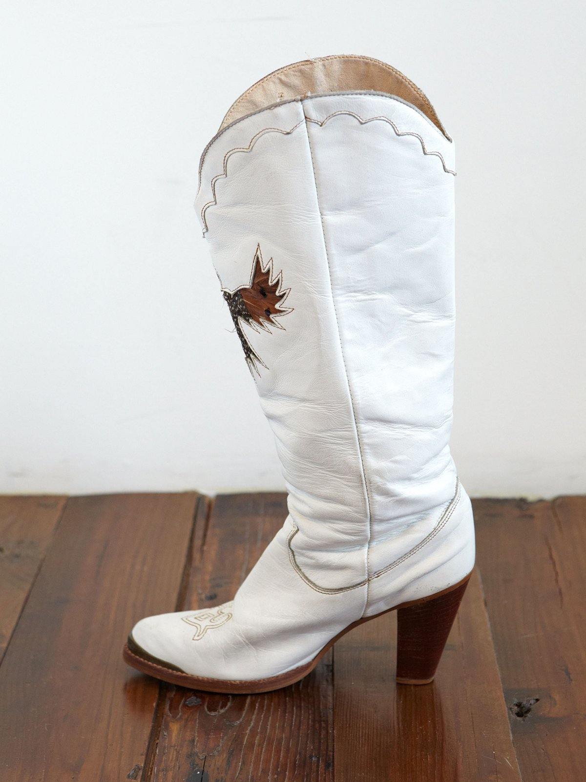 Vintage White Leather Cowboy Boots