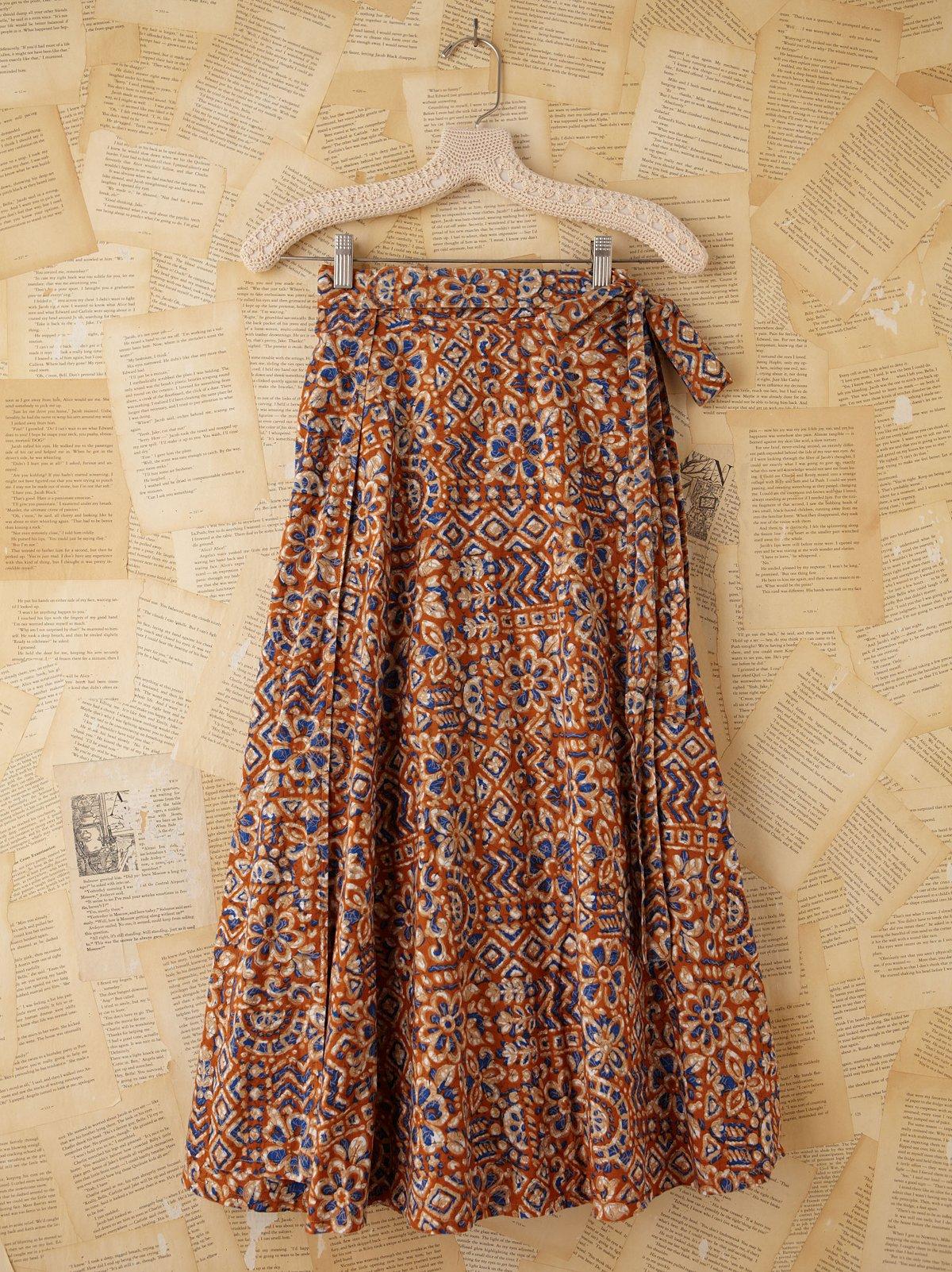 Vintage Floral Printed Maxi Wrap Skirt