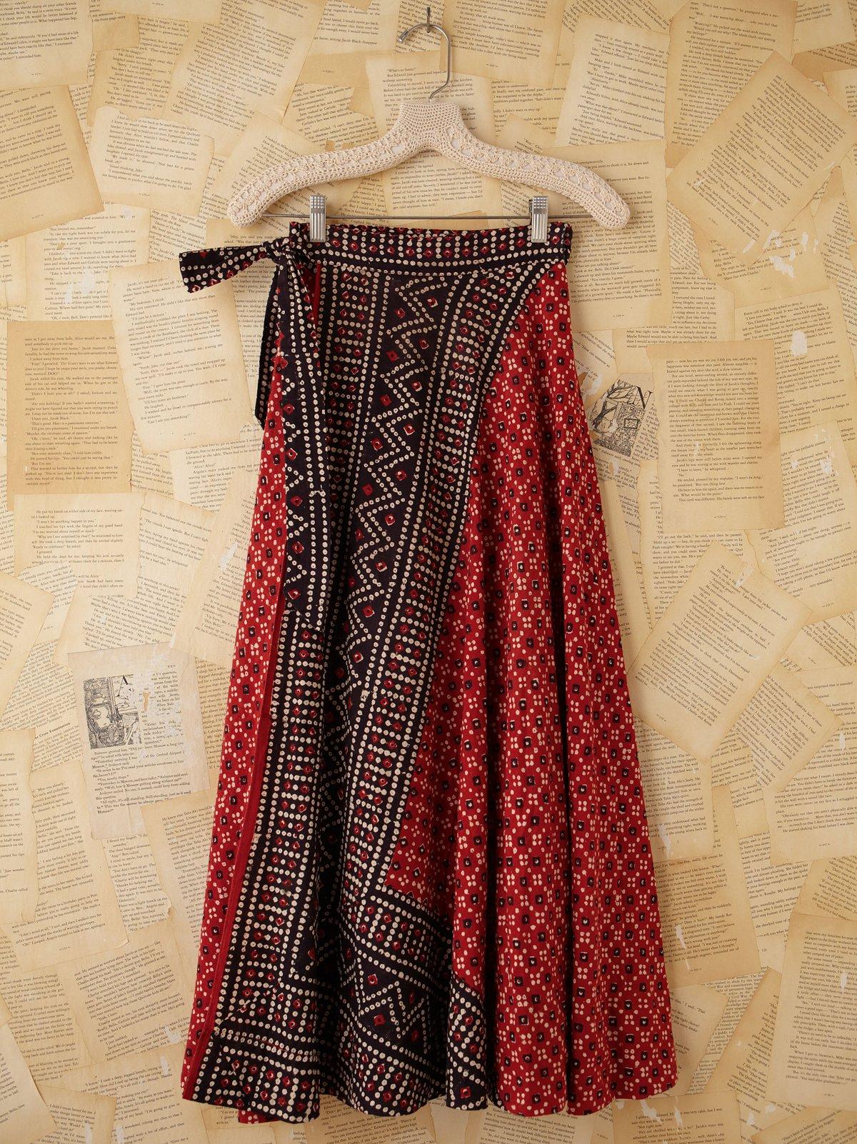 Vintage Batik Printed Wrap Skirt