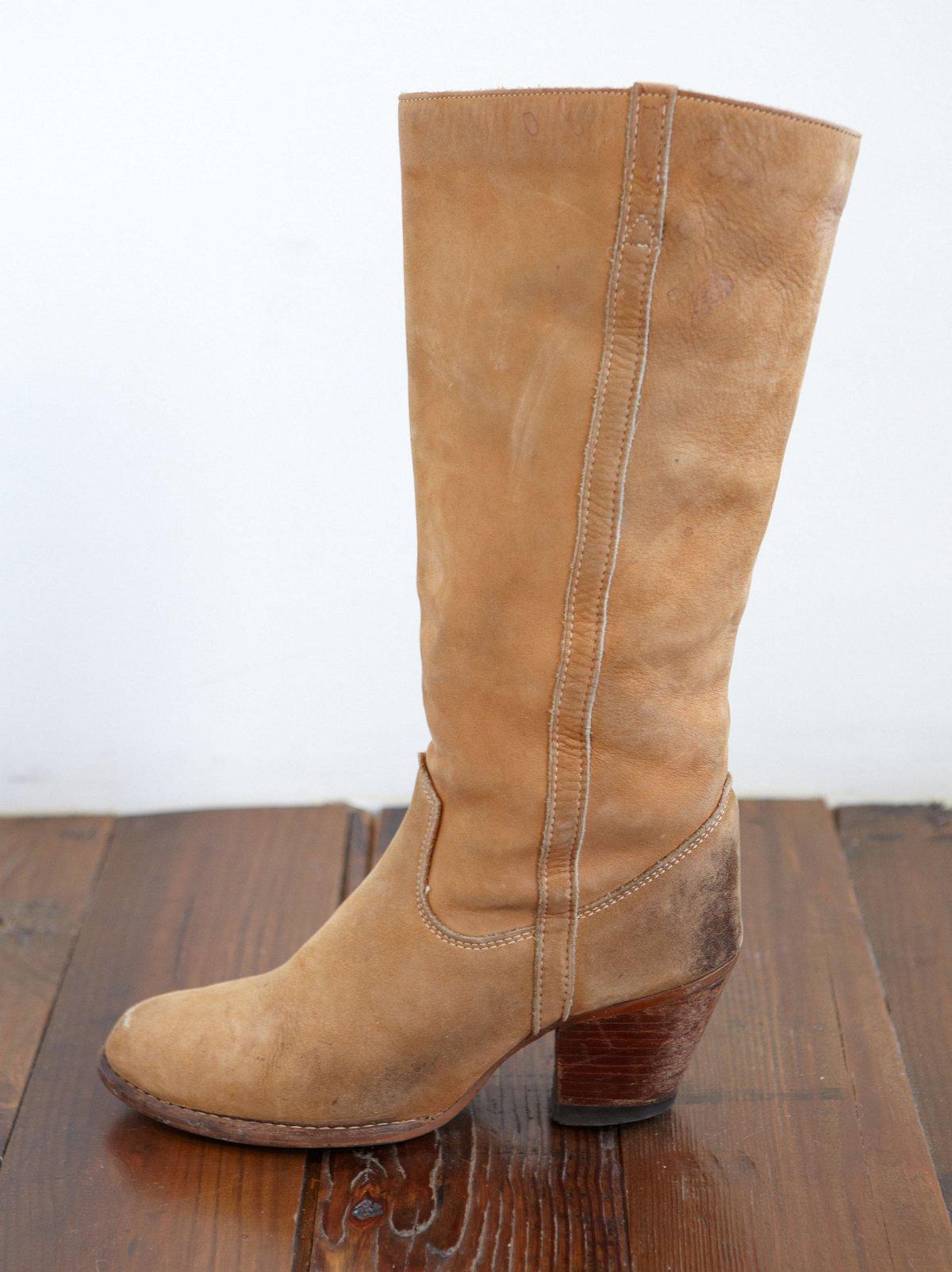 Vintage Tan Leather Cowboy Boots